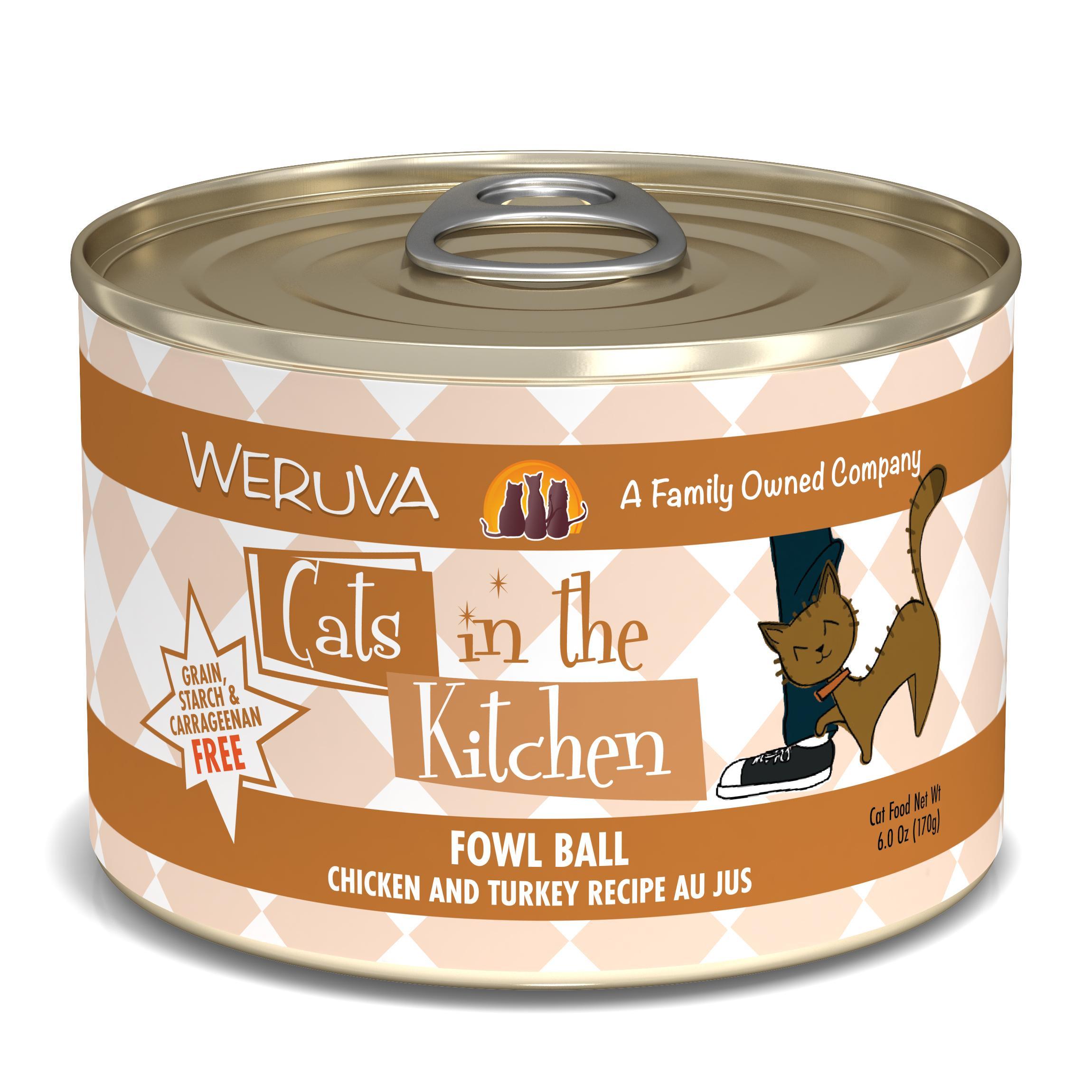 Weruva Cats in the Kitchen Fowl Ball Chicken & Turkey Au Jus Grain-Free Wet Cat Food, 6-oz