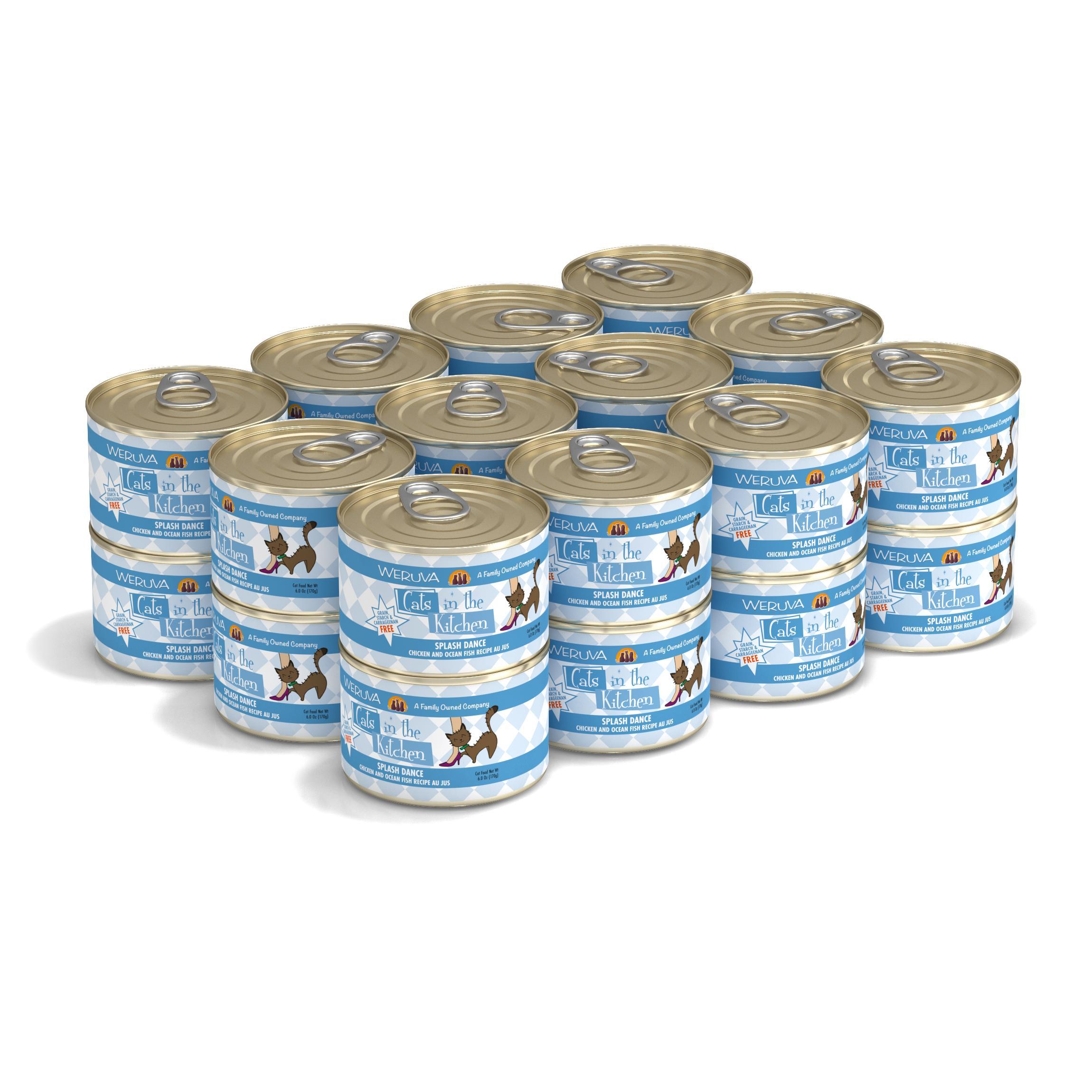 Weruva Cats in the Kitchen Splash Dance Chicken & Ocean Fish Au Jus Grain-Free Wet Cat Food, 6-oz, case of 24