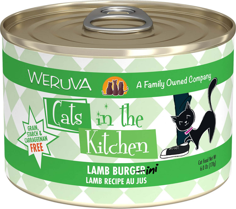 Weruva Cats in the Kitchen Lamb Burgini Lamb Au Jus Grain-Free Wet Cat Food, 6-oz