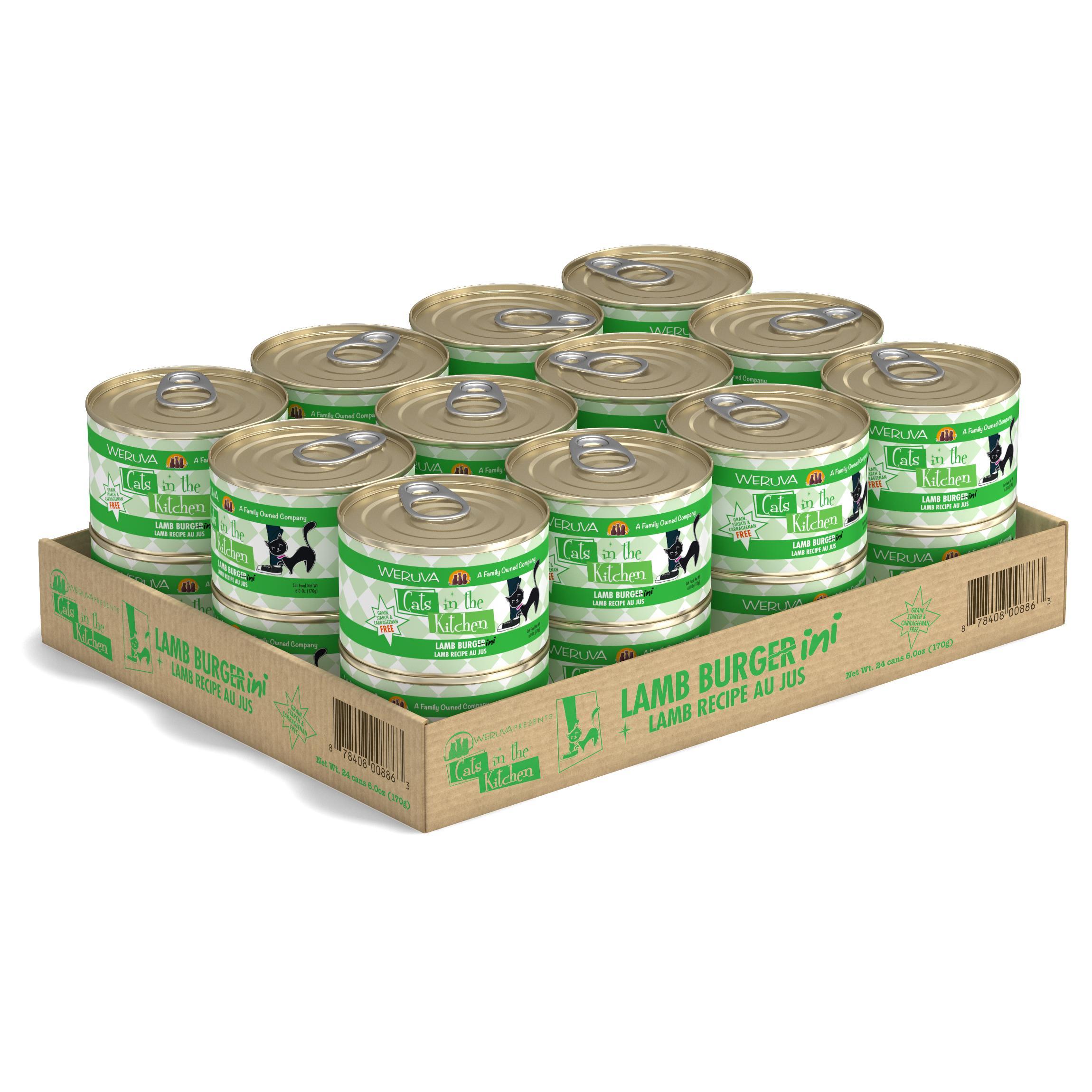 Weruva Cats in the Kitchen Lamb Burgini Lamb Au Jus Grain-Free Wet Cat Food, 6-oz, case of 24