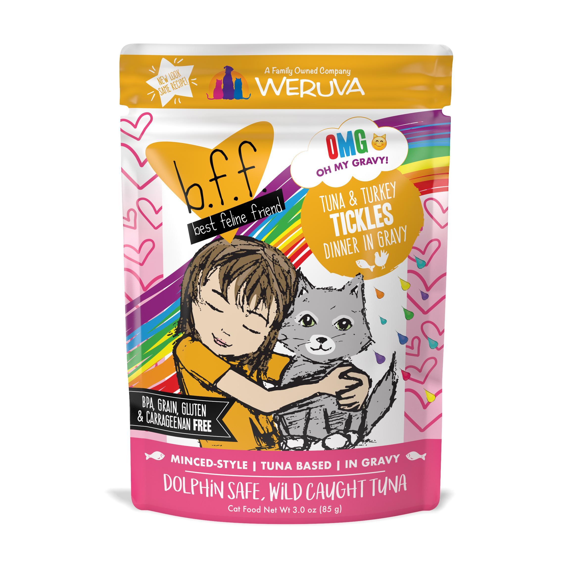 BFF Oh My Gravy! Tickles Tuna & Turkey Dinner in Gravy Grain-Free Wet Cat Food, 3-oz