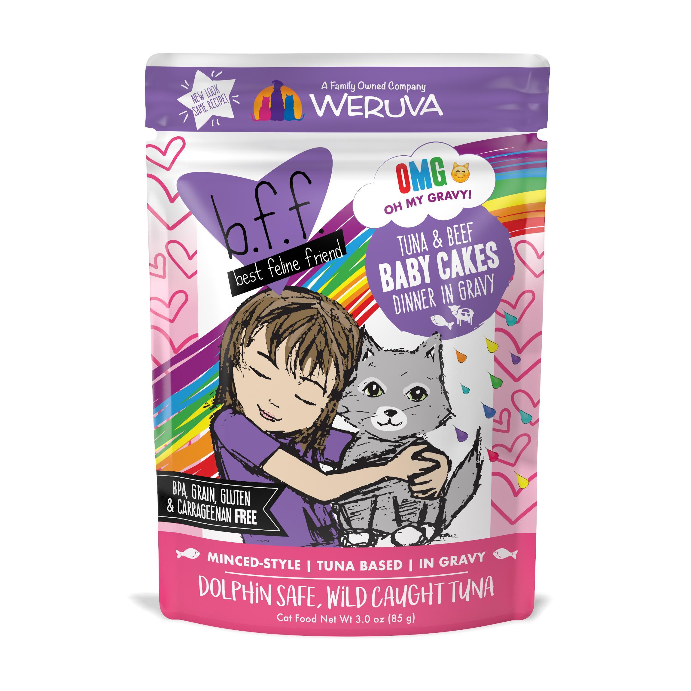 BFF Oh My Gravy! Baby Cakes Tuna & Beef Dinner in Gravy Grain-Free Wet Cat Food Image