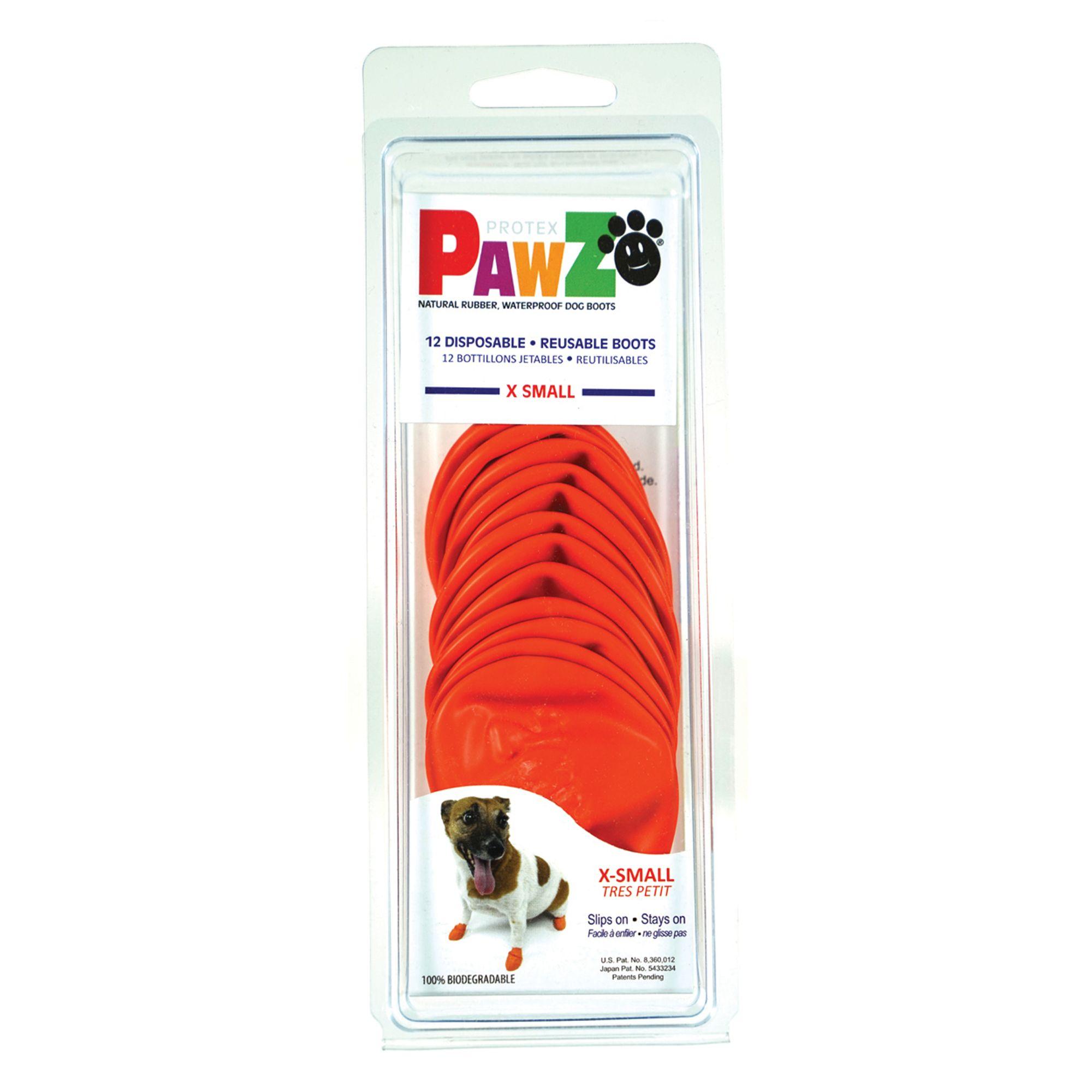 Pawz Waterproof Dog Boots, Orange, X-Small