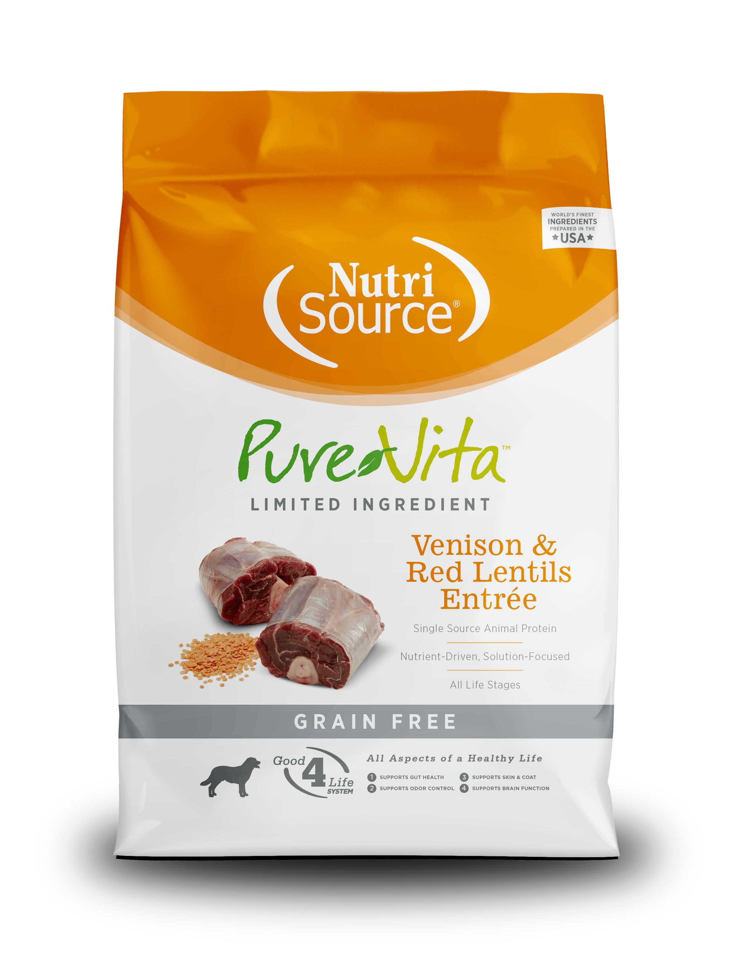 PureVita Grain Free Venison and Red Lentils Entree Dry Dog Food, 25lbs