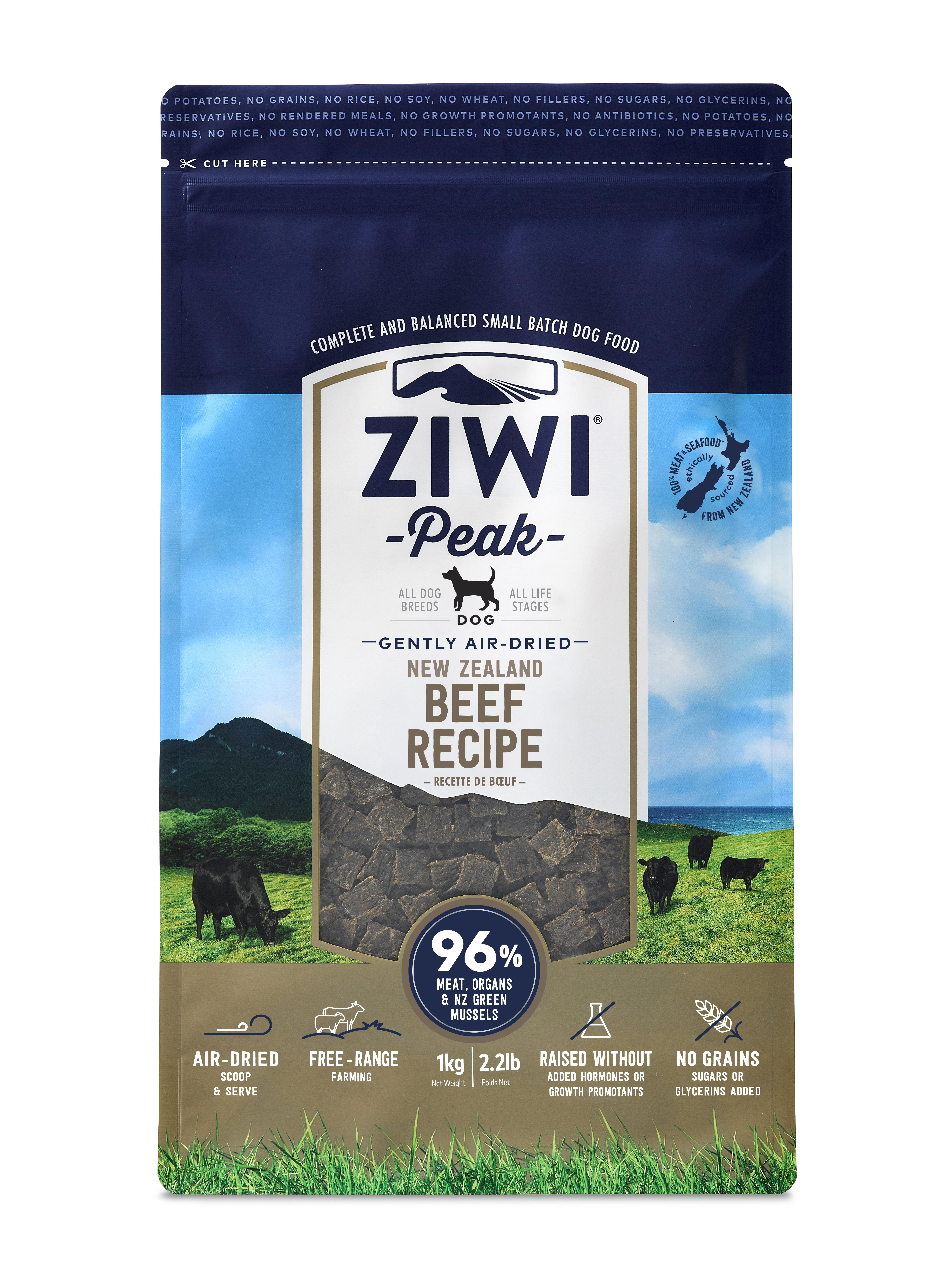 Ziwi Peak Dog Beef Recipe Grain-Free Air-Dried Dog Food, 2.2-lb bag