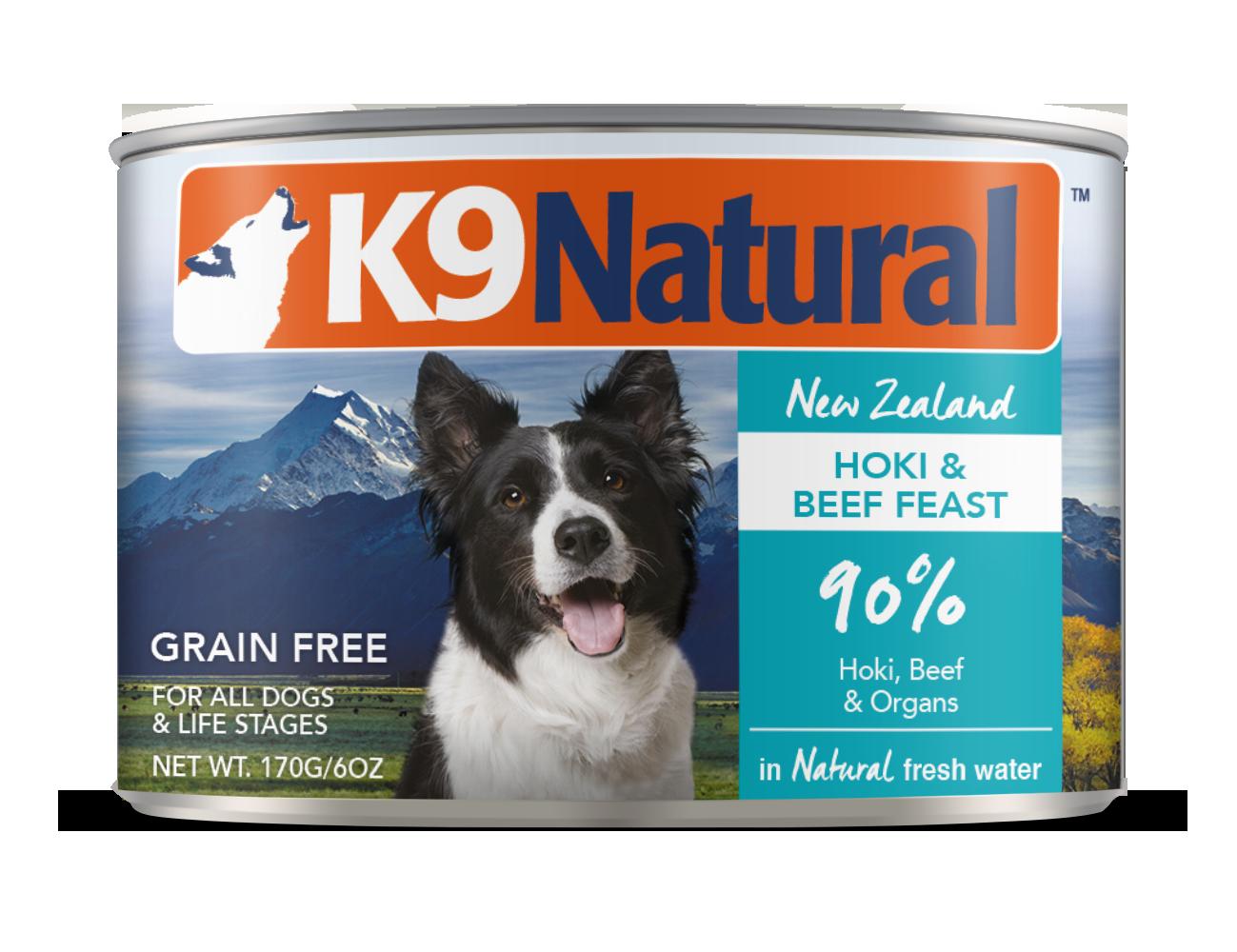 K9 Natural Hoki & Beef Feast Grain-Free Wet Dog Food, 6-oz can