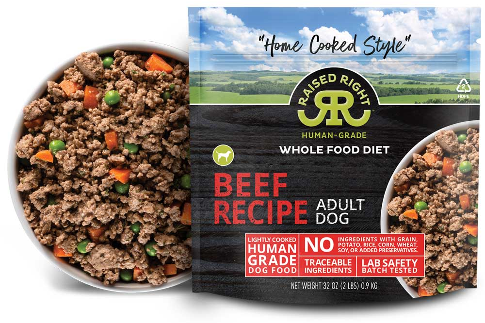 """Raised Right's Beef Human-Grade Frozen Dog Food, Low Carb """"Home Cooked Style"""" Whole Food Diet, 2-lb bag (Size: 2-lb) Image"""