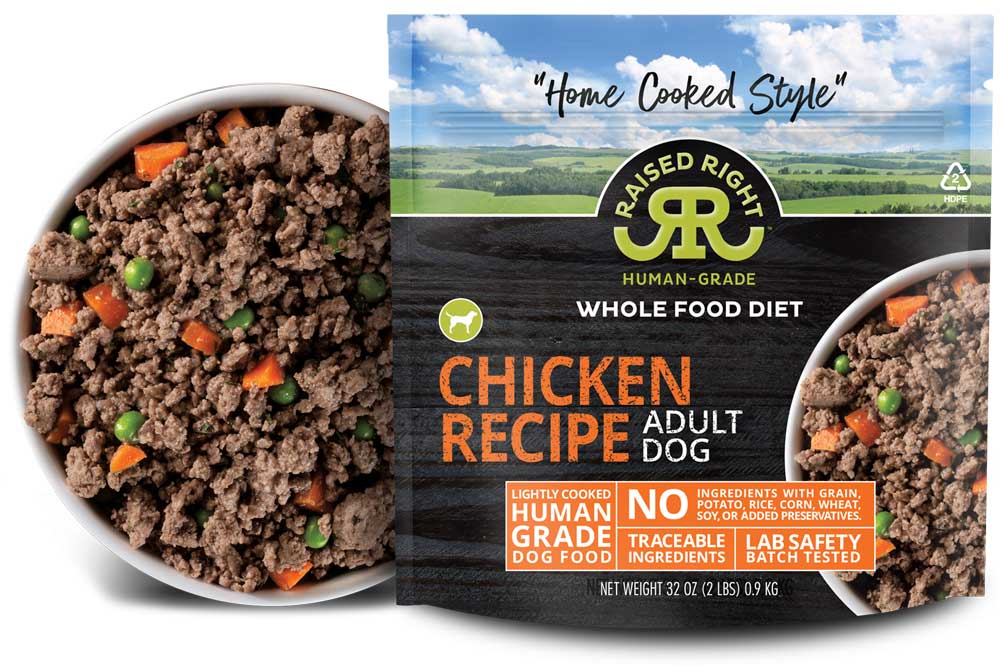 """Raised Right's Chicken Human-Grade Frozen Dog Food, Low Carb """"Home Cooked Style"""" Whole Food Diet, 2-lb bag"""