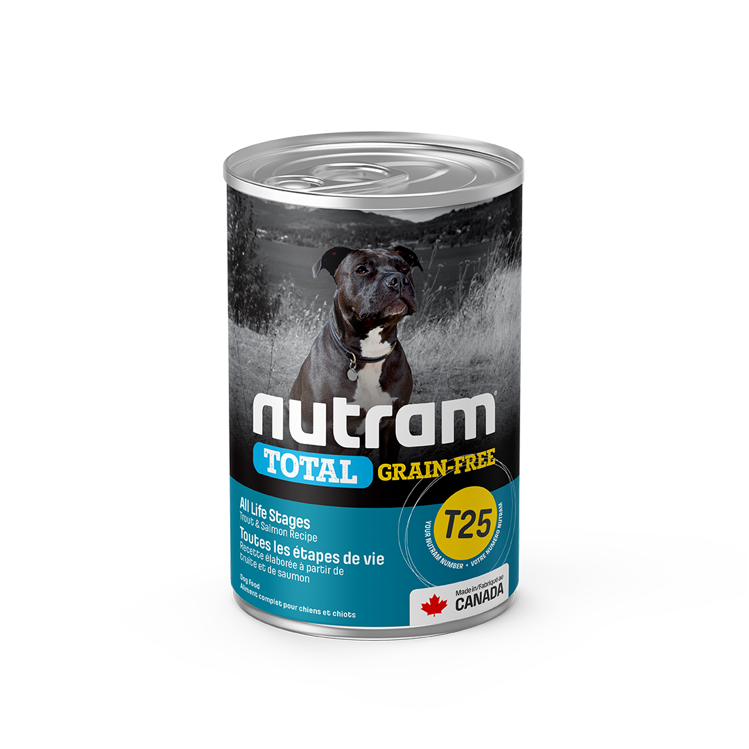Nutram Total T25 Trout & Salmon Grain-Free All Life Stages Wet Dog Food, 369-gram