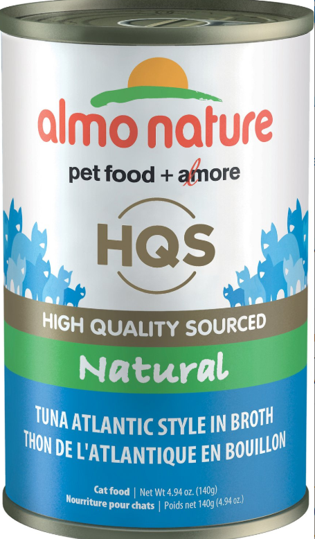 Almo Nature HQS Natural Tuna in Broth Atlantic Style Grain-Free Canned Cat Food, 4.94-oz