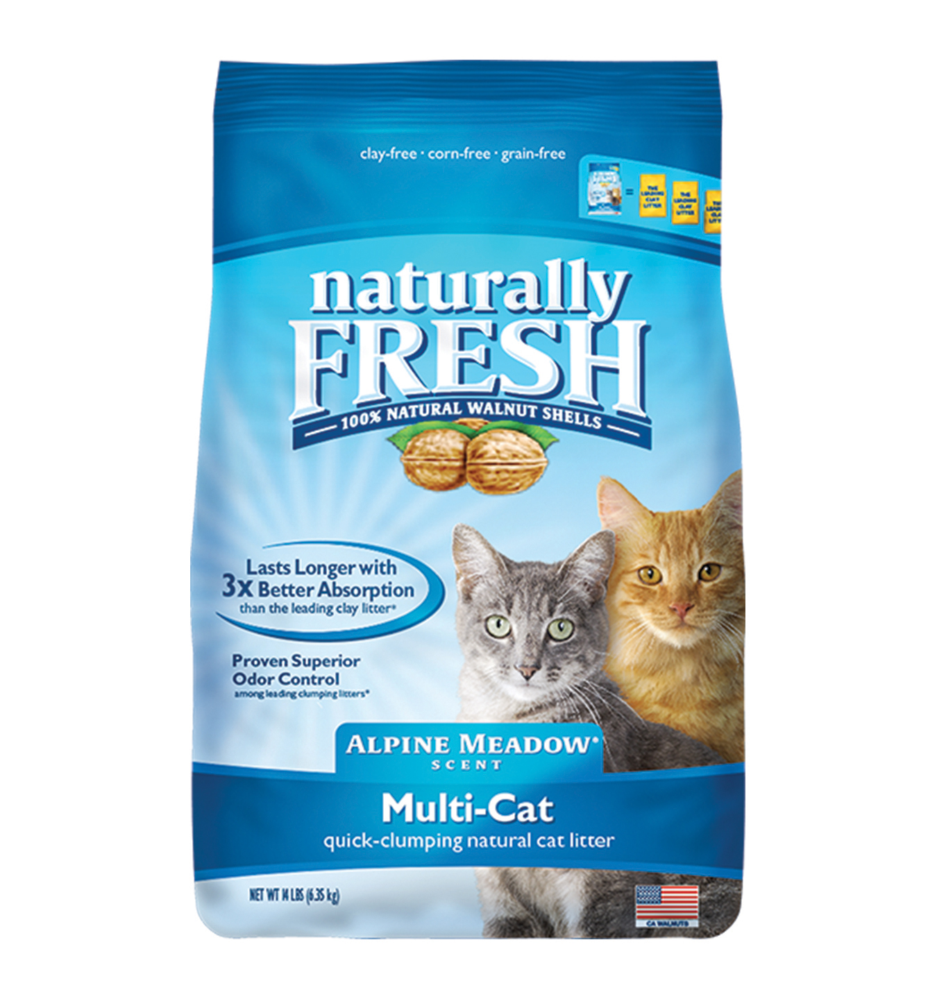 Naturally Fresh Walnut-Based Multi-Cat Alpine Meadow Scent Quick-Clumping Cat Litter, 14-lb bag