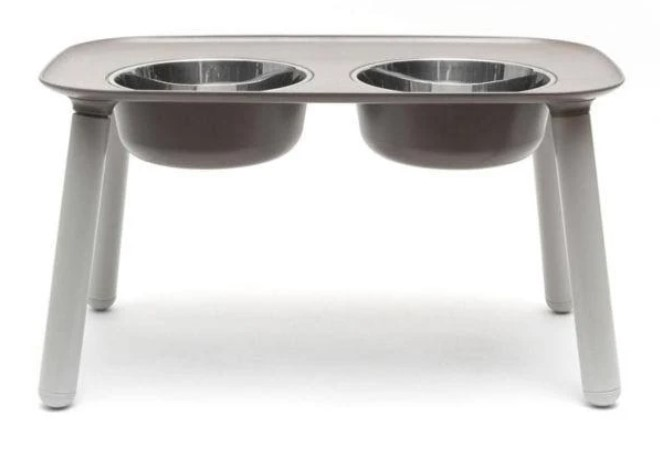 Messy Mutts Elevated Double Feeder Dog Bowl, Grey