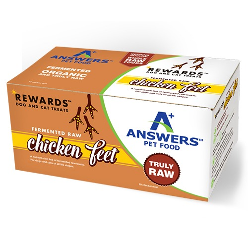 Answers Rewards Fermented Raw Chicken Feet Frozen Dog & Cat Treat, 10-count