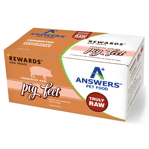 Answers Rewards Fermented Raw Pig Feet Frozen Dog Treat, 4-count