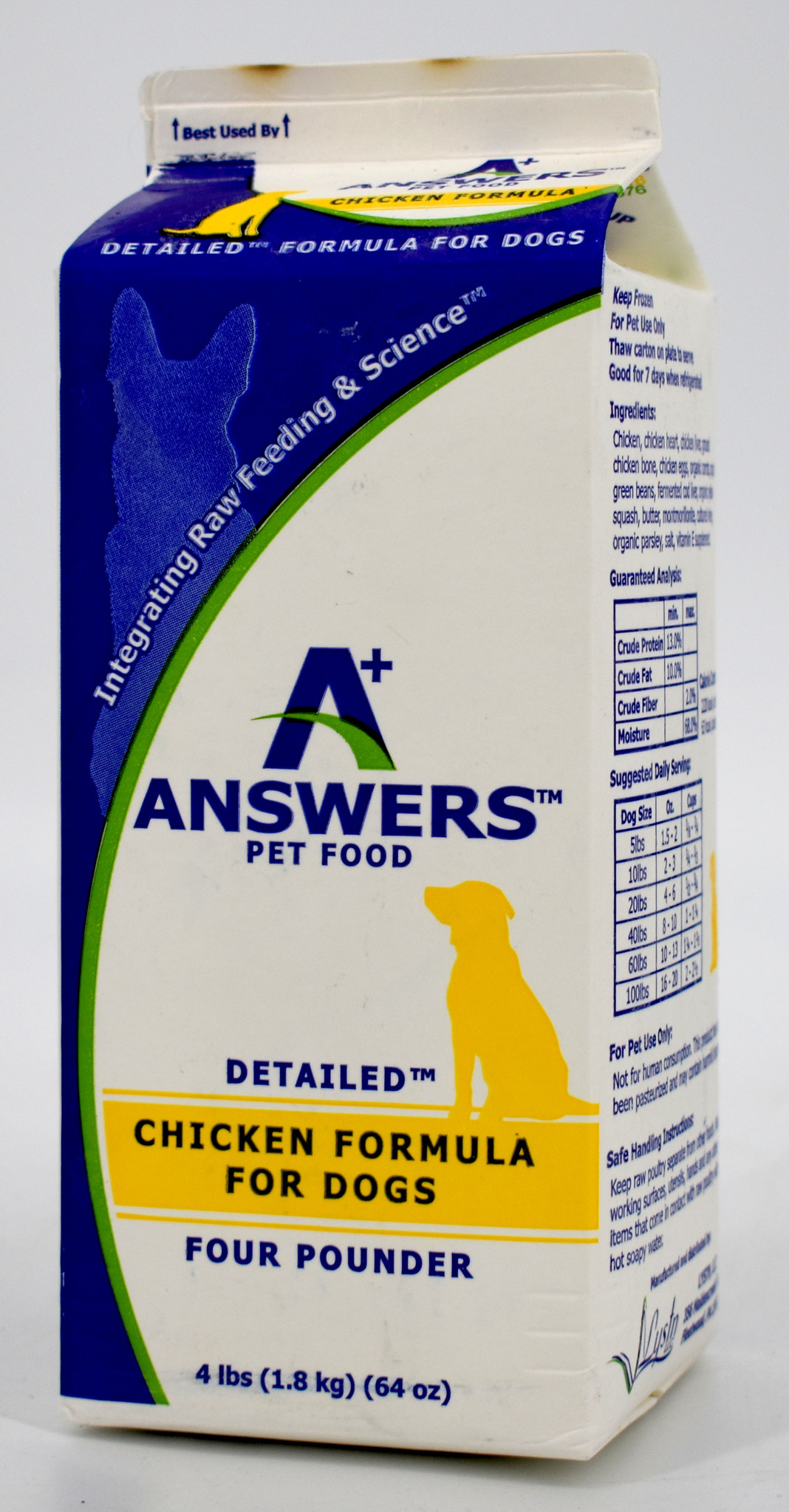 Answers Detailed Formula Raw Chicken Frozen Dog Food, 4-lb