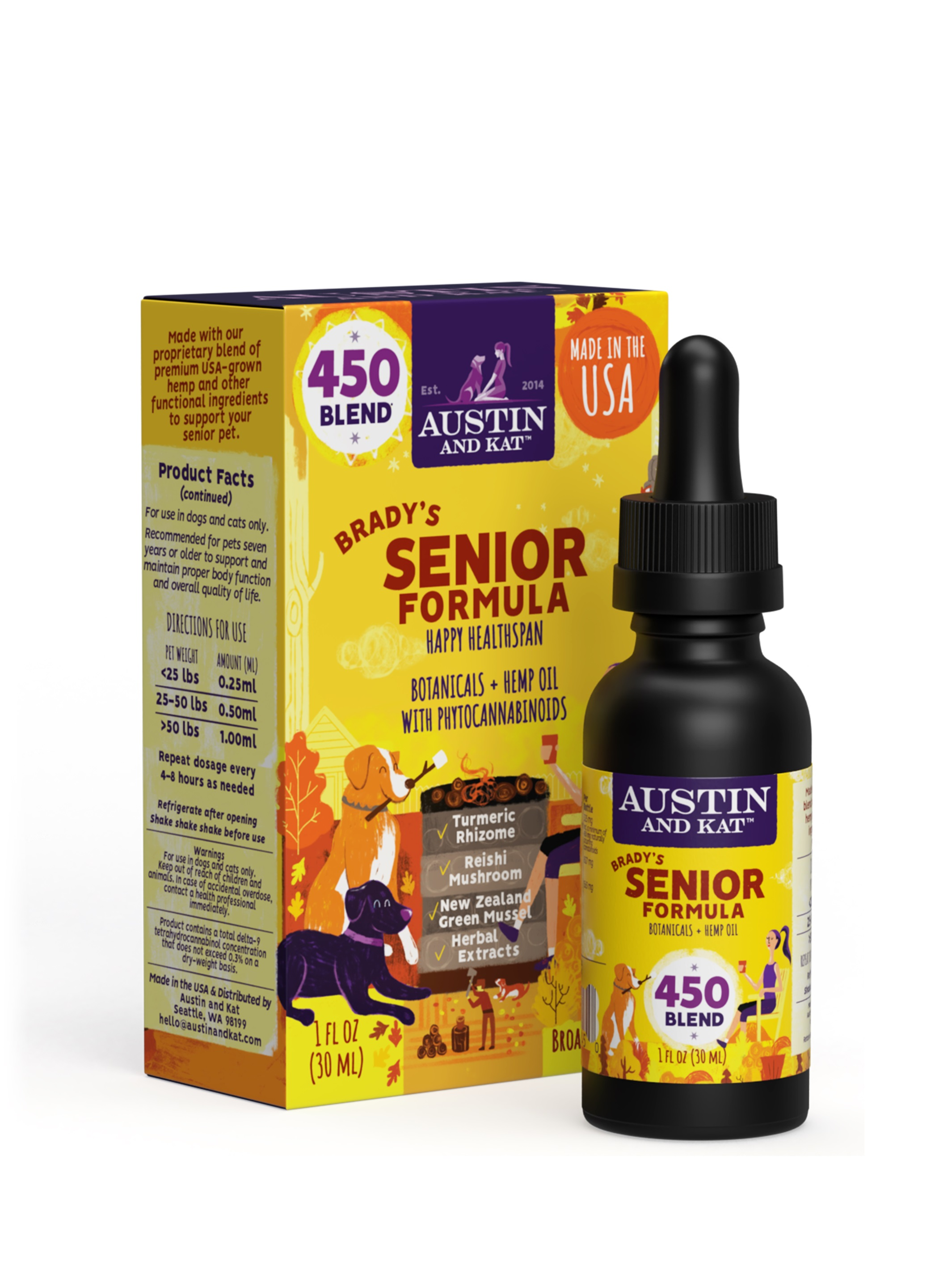 Austin and Kat Brady's Senior Blend Oil, 450-mg, 1-oz