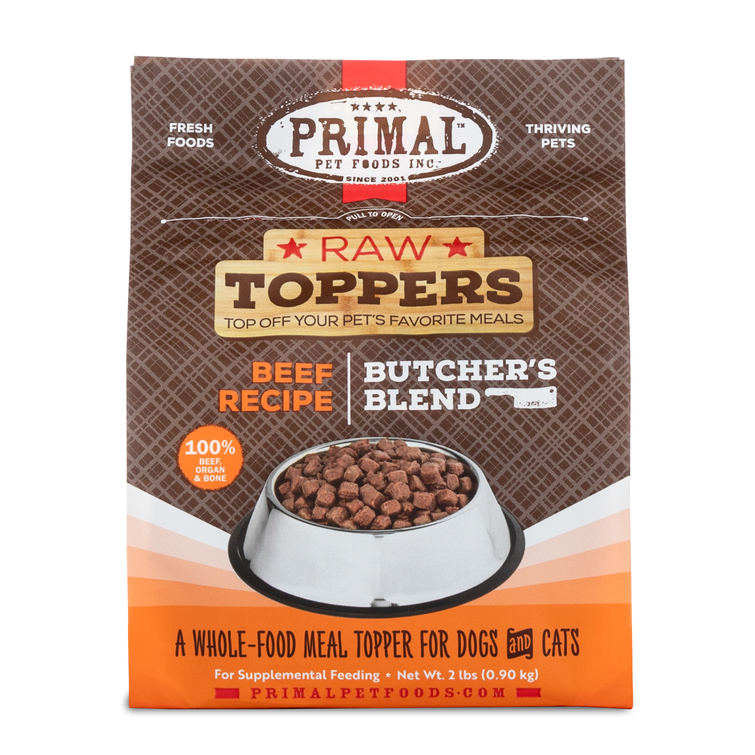 Primal Raw Toppers Butcher's Blend Beef Dog & Cat Food Topper, 2-lb