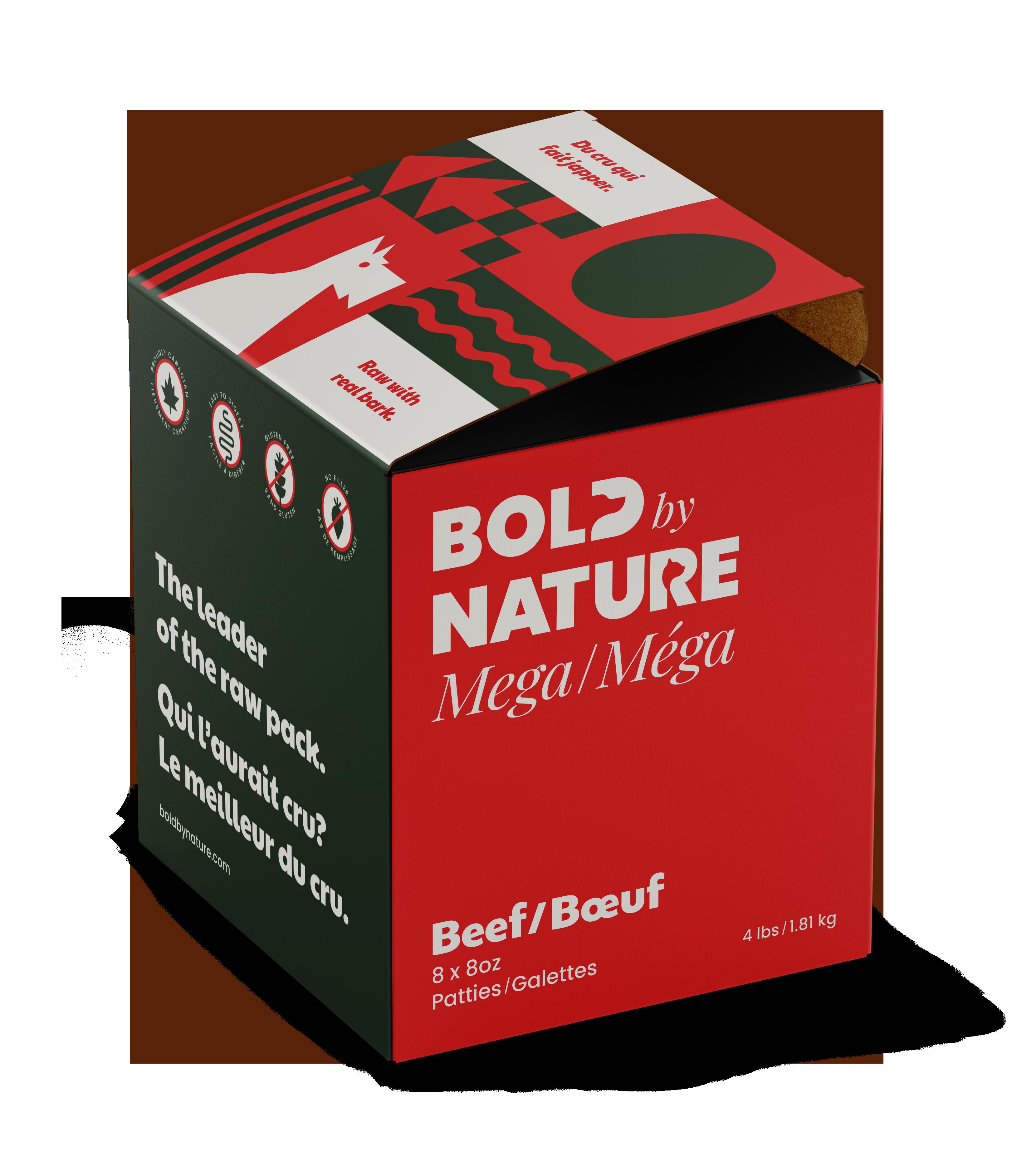 Bold by Nature Dog Mega Beef Patties Dog Food, 4-lb