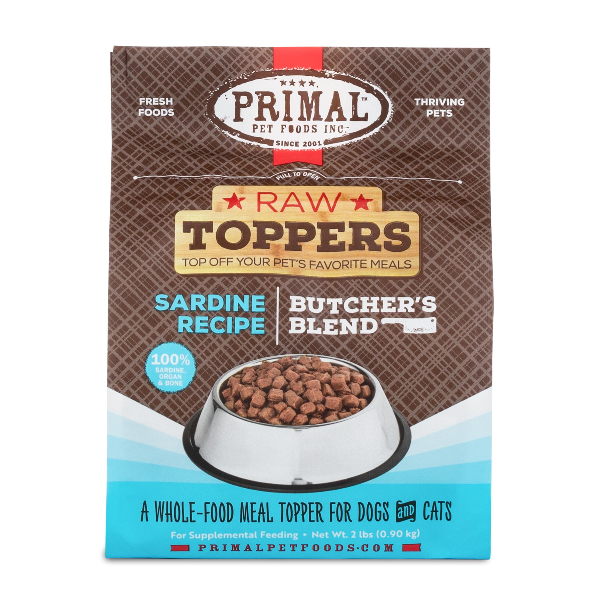 Primal Raw Toppers Butcher's Blend Sardine Dog & Cat Food Topper, 2-lb