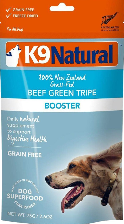 K9 Natural Booster Beef Green Tripe Grain-Free Freeze-Dried Dog Supplement, 2.6-oz bag Weights: -