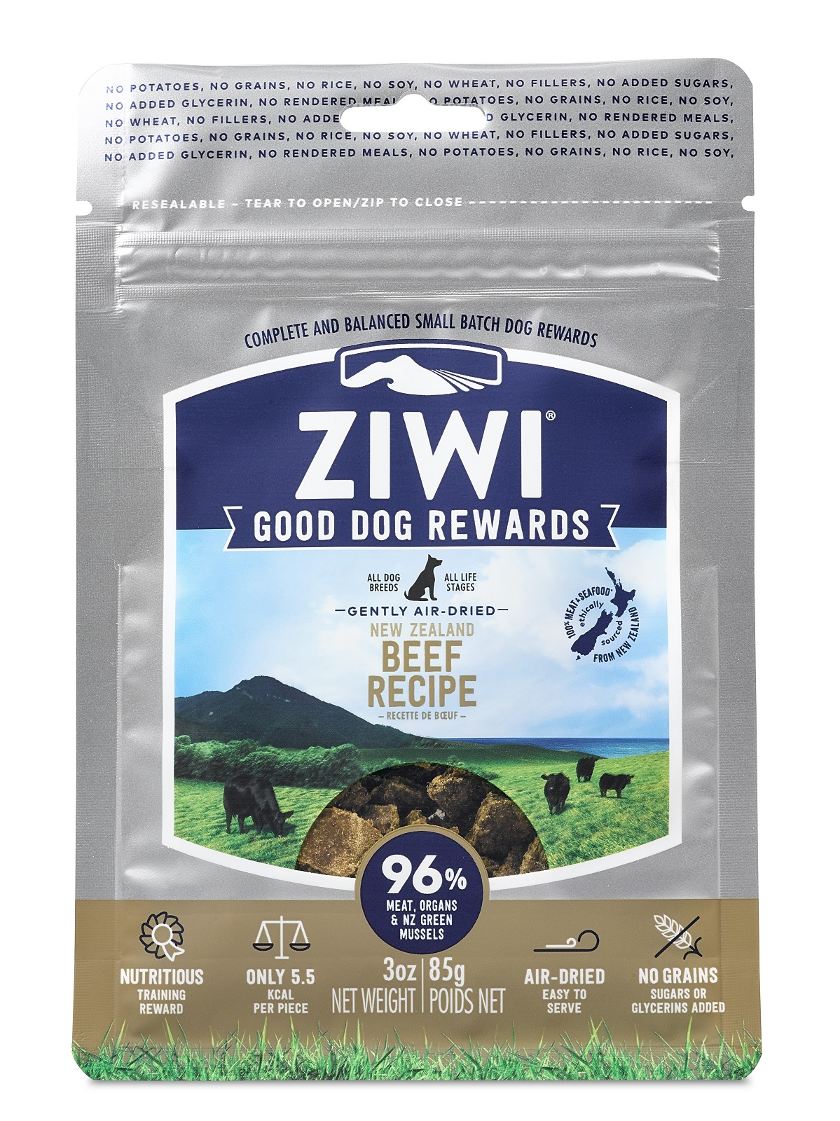 ZIWI Good Dog Rewards Beef Recipe Air-Dried Dog Treats, 3-oz (Size: 3-oz, Weights: 3 ounces) Image