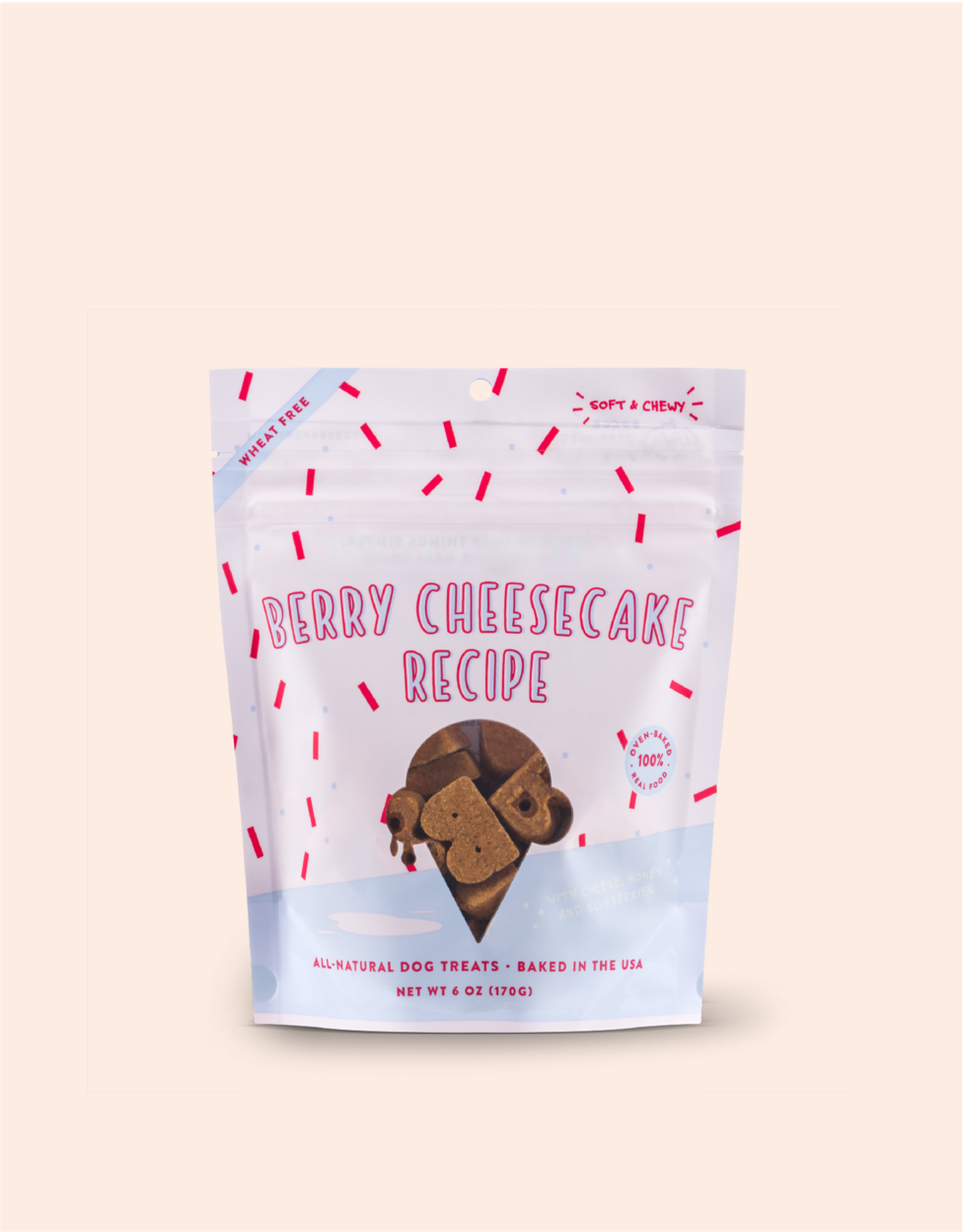 Bocce's Bakery Scoop Shop Berry Cheesecake Soft & Chewy Dog Treats, 6-oz