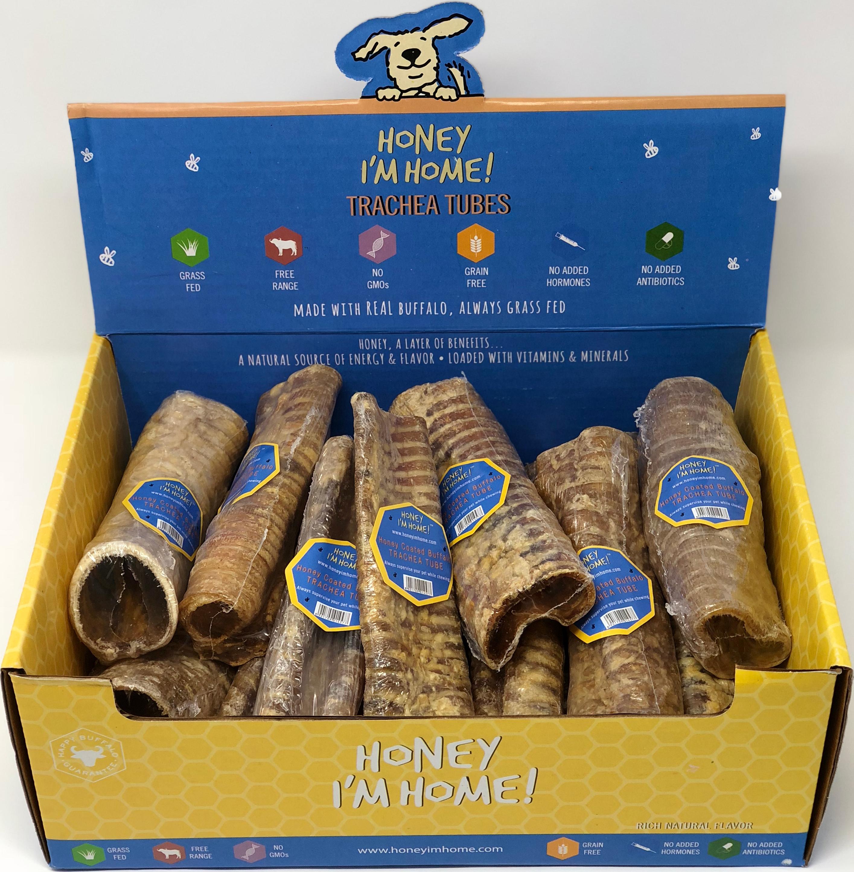 Honey I'm Home Natural Honey Coated Buffalo Trachea Tubes Dog Chews, 1 count