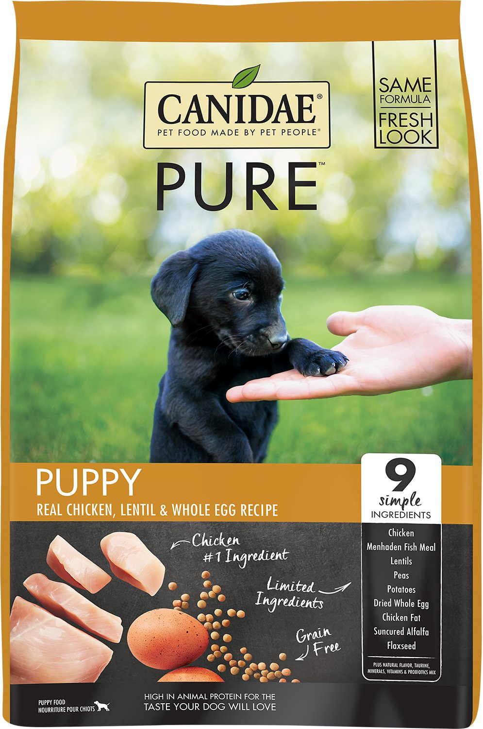 Canidae Grain-Free PURE Puppy Real Chicken, Lentil & Whole Egg Recipe Dry Dog Food, 24-lb