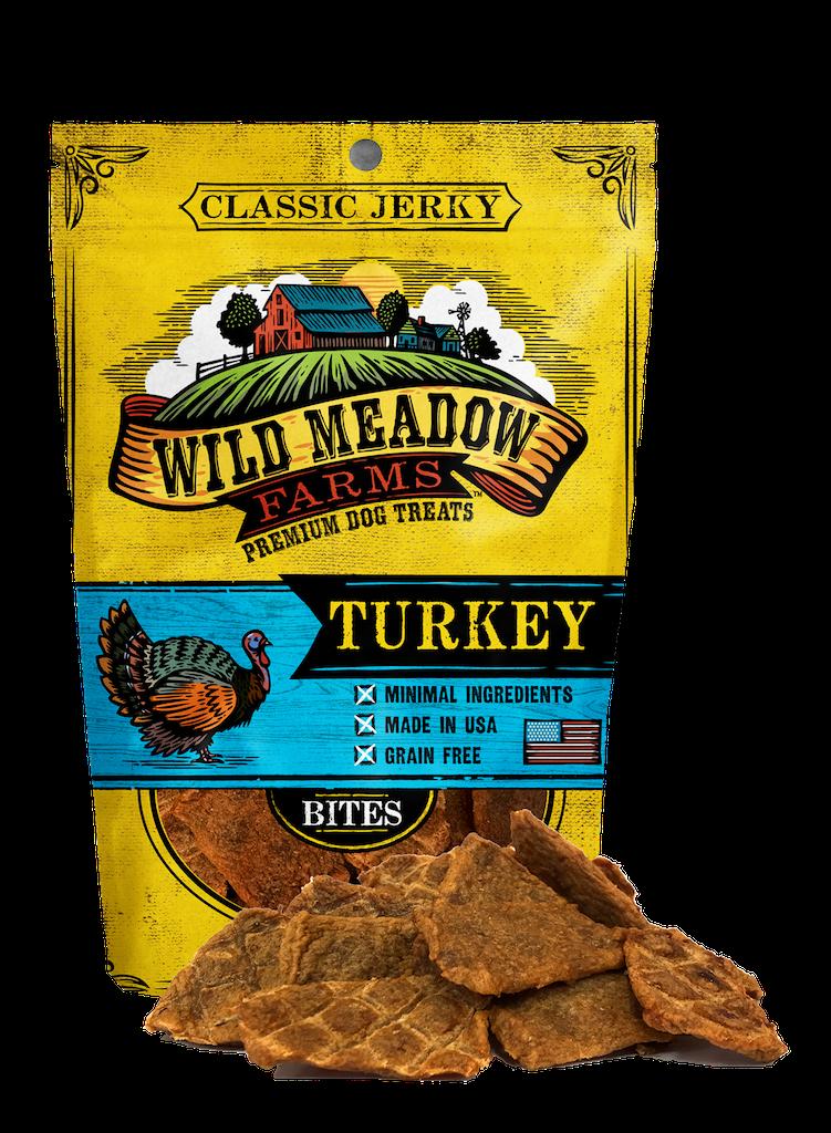 Wild Meadow Farms Classic Jerky Bites Turkey Dog Treats, 4-oz