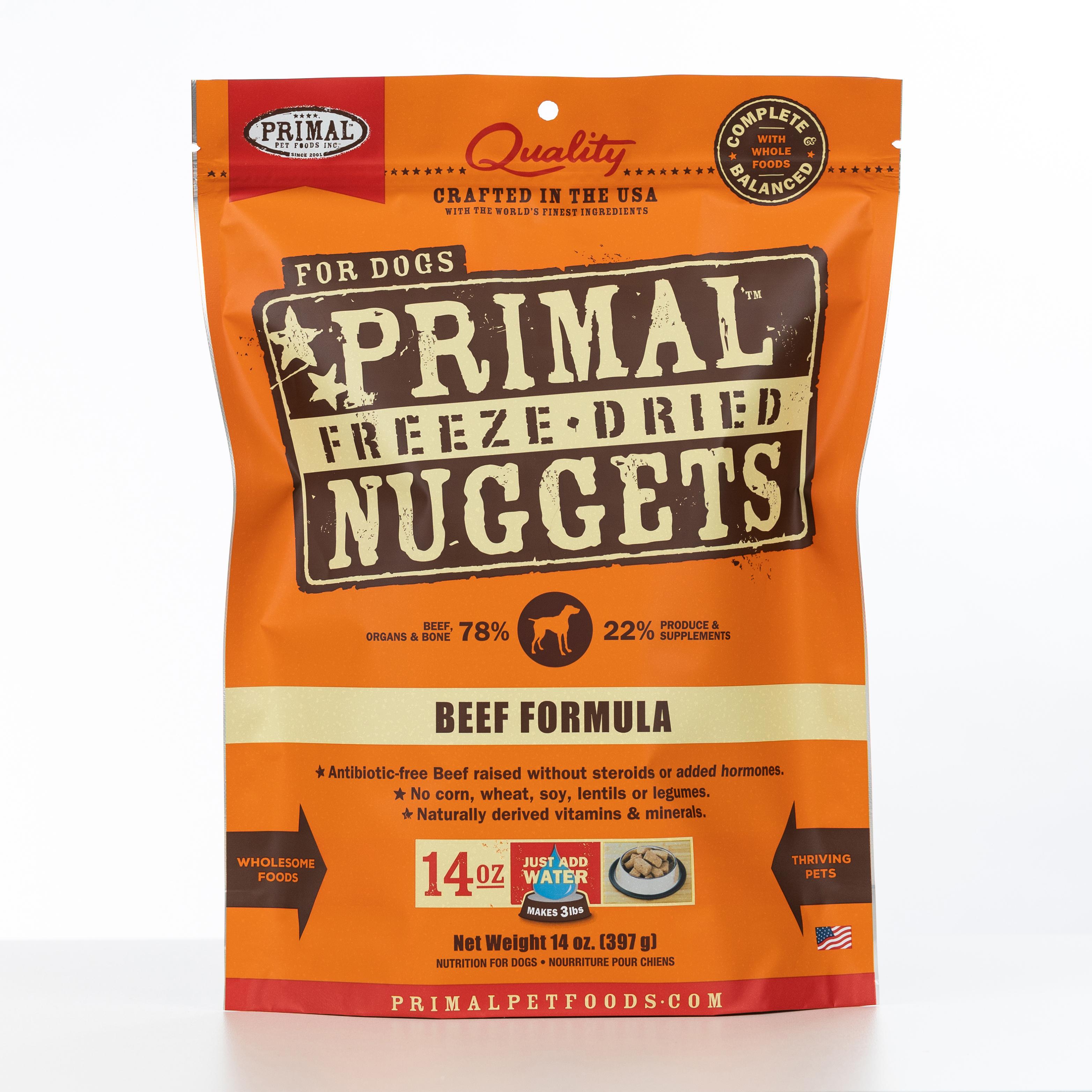 Primal Raw Freeze-Dried Nuggets Beef Formula Dog Food, 14-oz bag Size: 14-oz bag, Weights: 14ounces