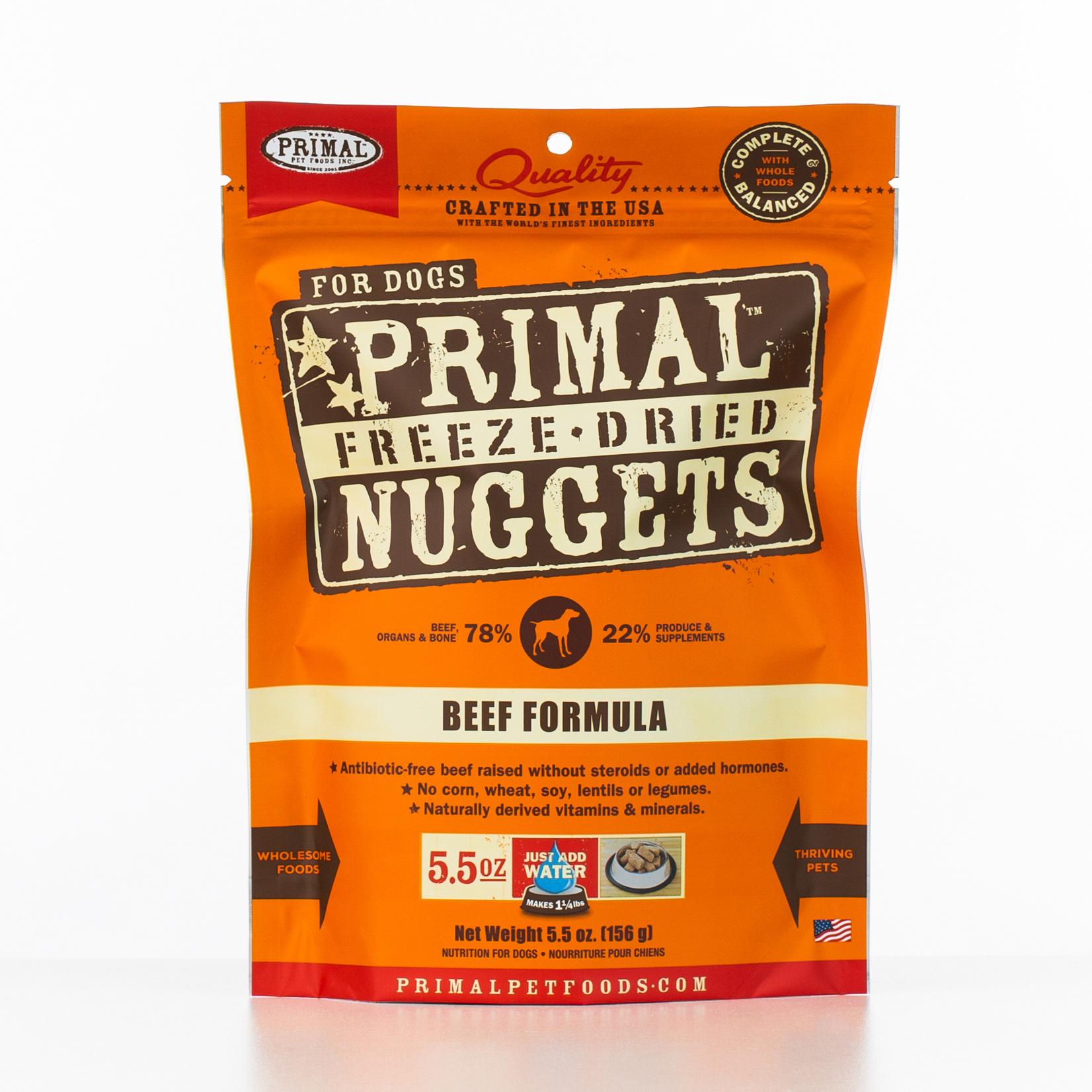 Primal Raw Freeze-Dried Nuggets Beef Formula Dog Food, 5.5-oz bag Size: 5.5-oz bag, Weights: 5.5ounces