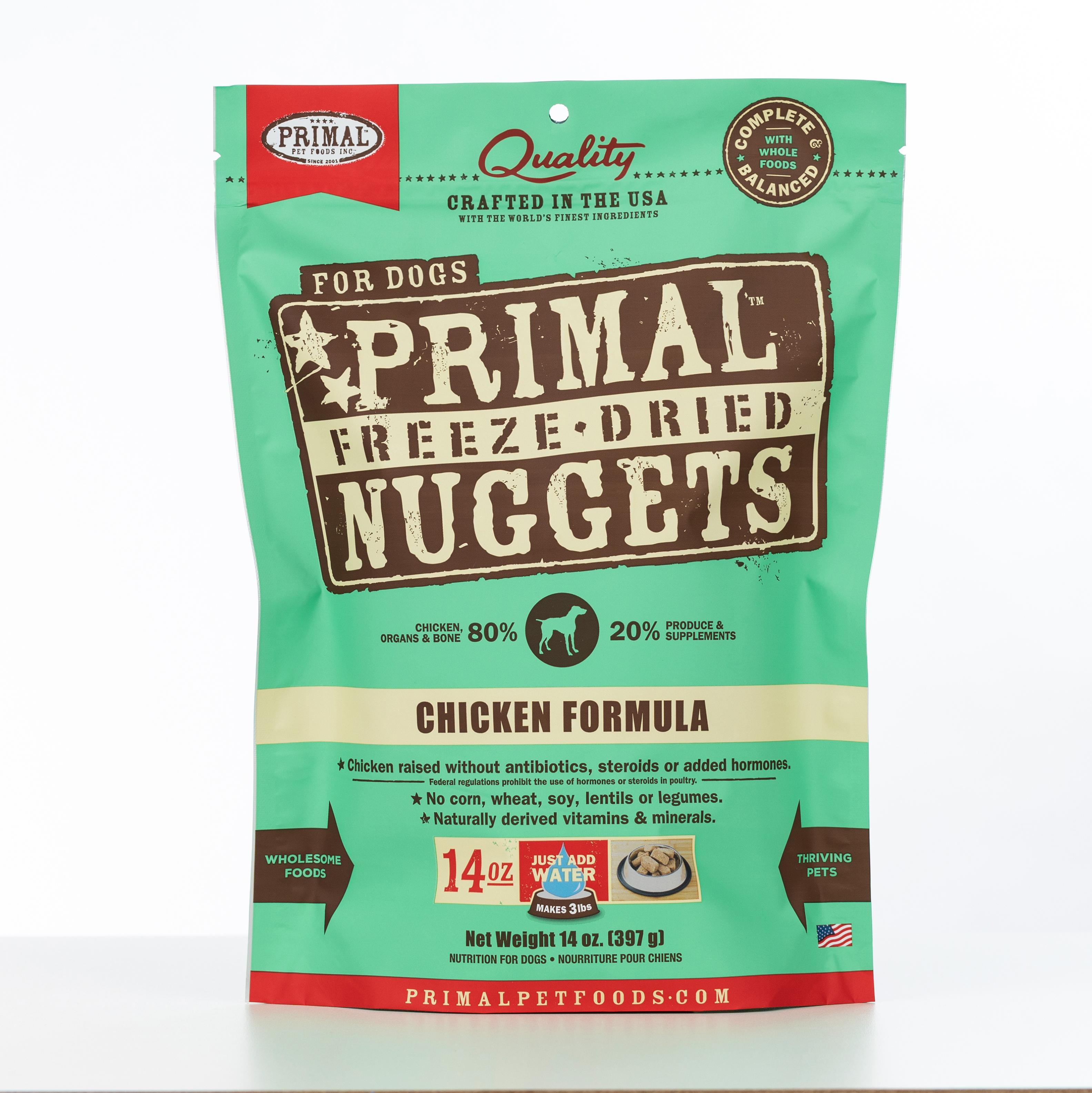 Primal Raw Freeze-Dried Nuggets Chicken Formula Dog Food, 14-oz bag