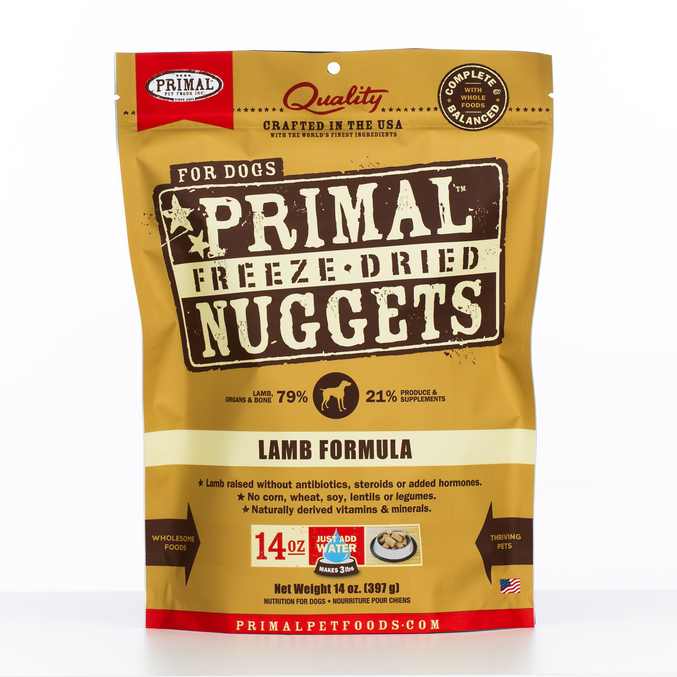 Primal Raw Freeze-Dried Nuggets Lamb Formula Dog Food, 14-oz bag