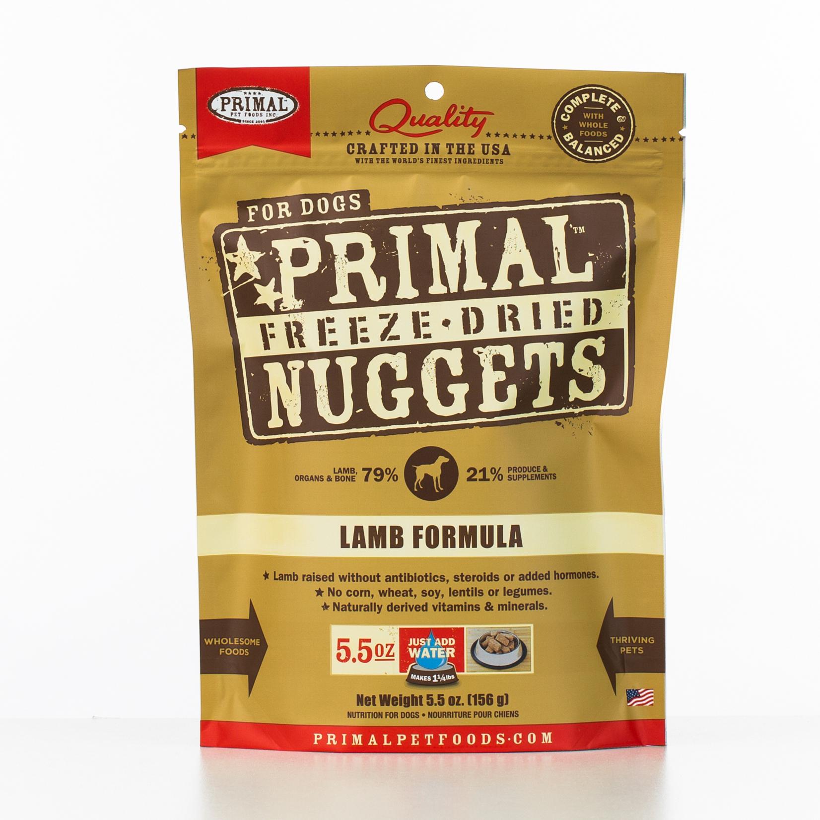 Primal Raw Freeze-Dried Nuggets Lamb Formula Dog Food, 5.5-oz bag