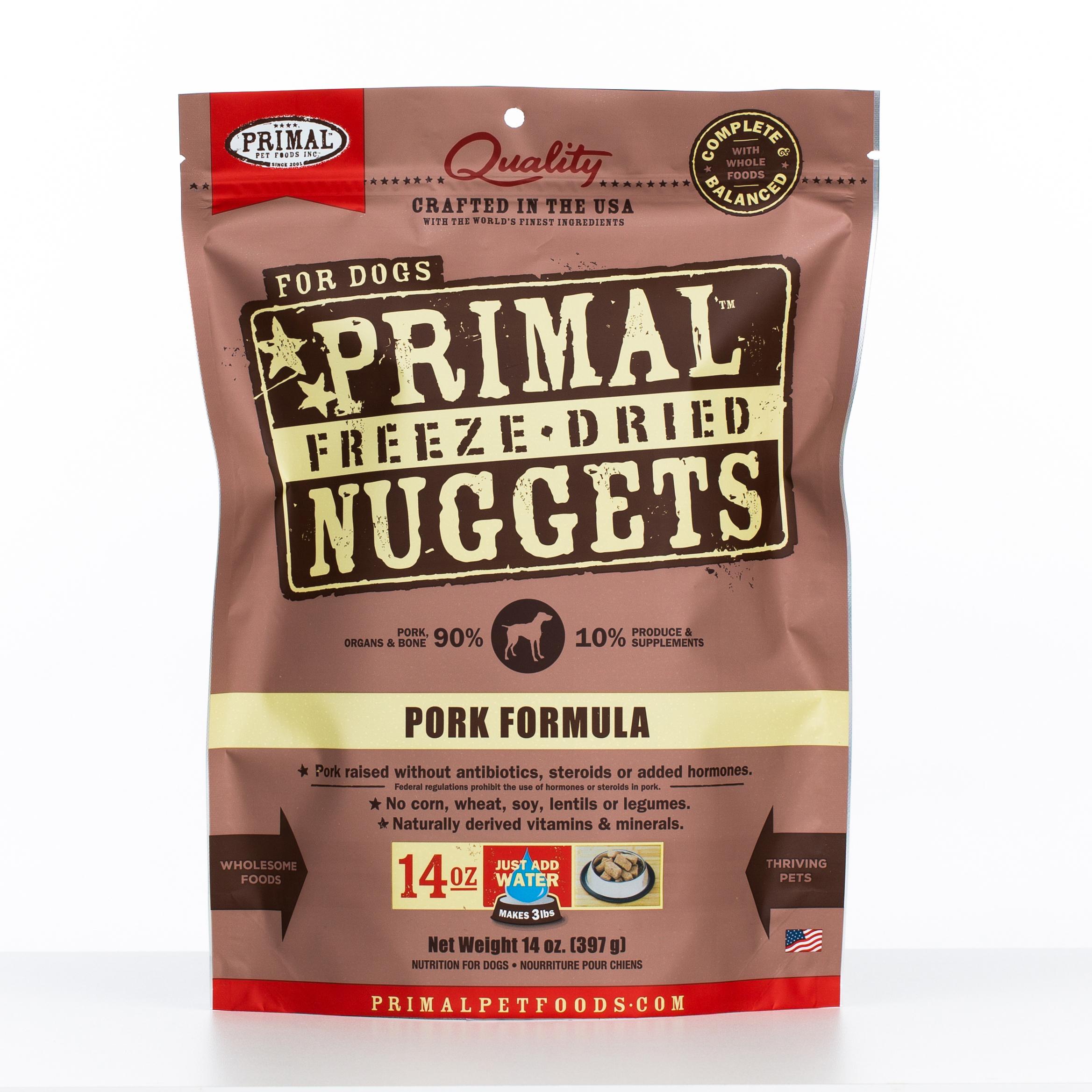 Primal Raw Freeze-Dried Nuggets Pork Formula Dog Food, 14-oz bag
