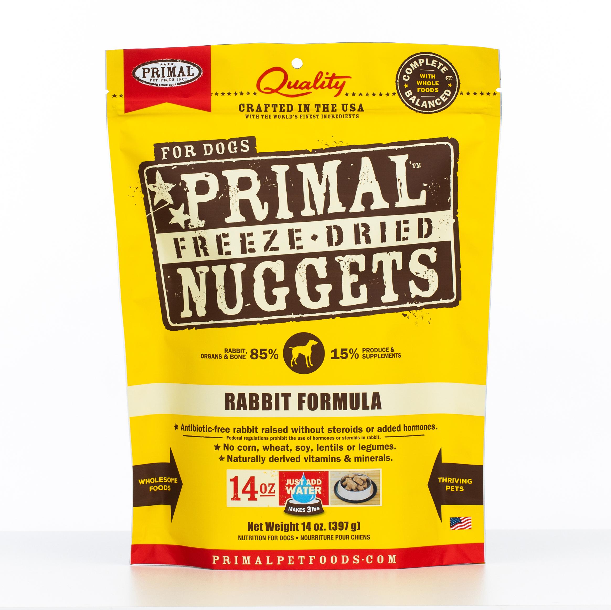Primal Raw Freeze-Dried Nuggets Rabbit Formula Dog Food, 14-oz bag