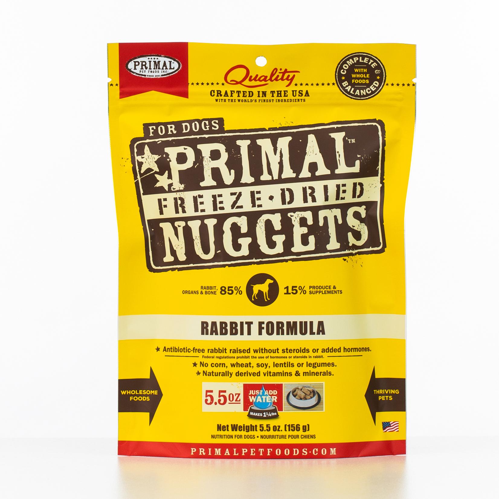 Primal Raw Freeze-Dried Nuggets Rabbit Formula Dog Food, 5.5-oz bag