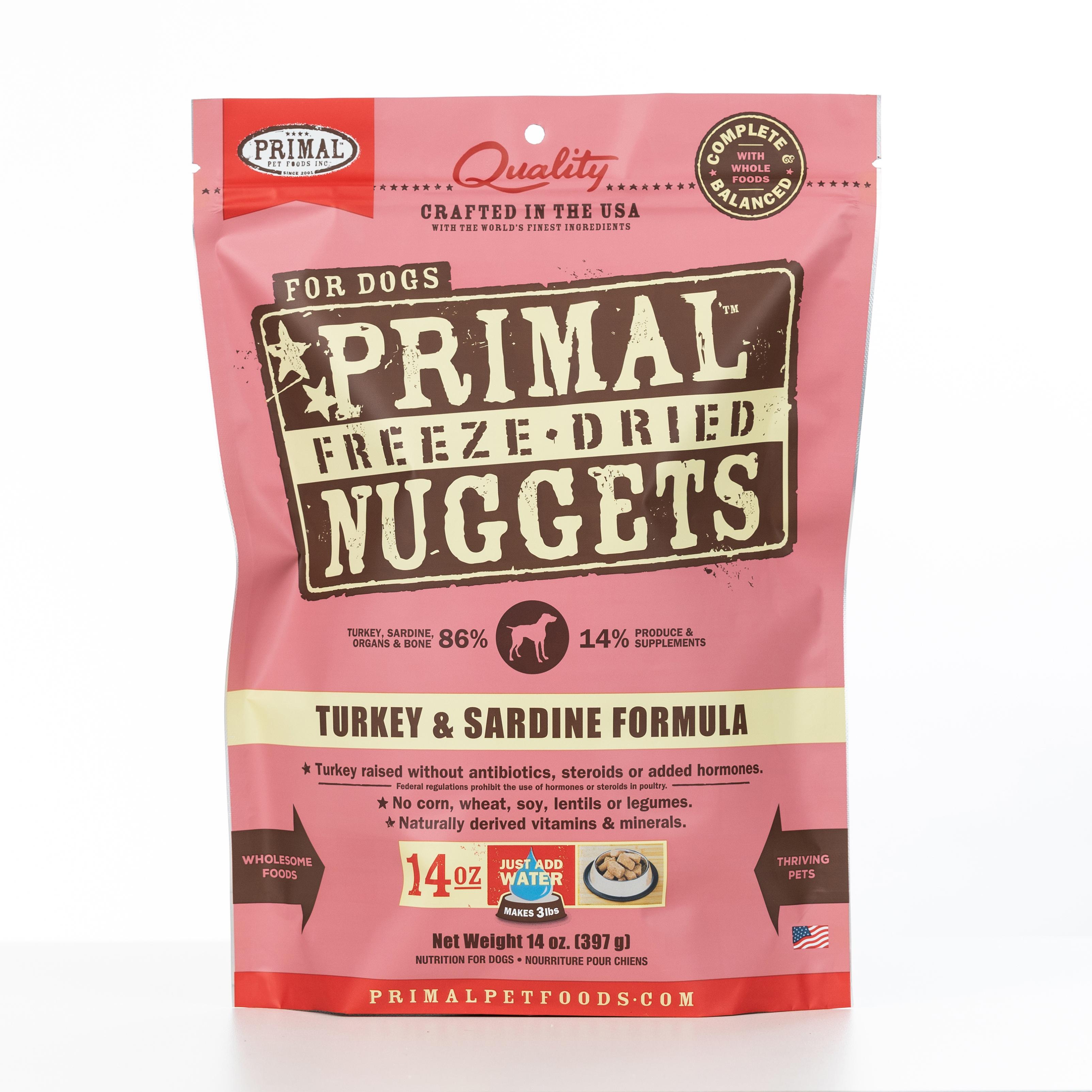 Primal Raw Freeze-Dried Nuggets Turkey & Sardine Formula Dog Food, 14-oz bag, case of 4