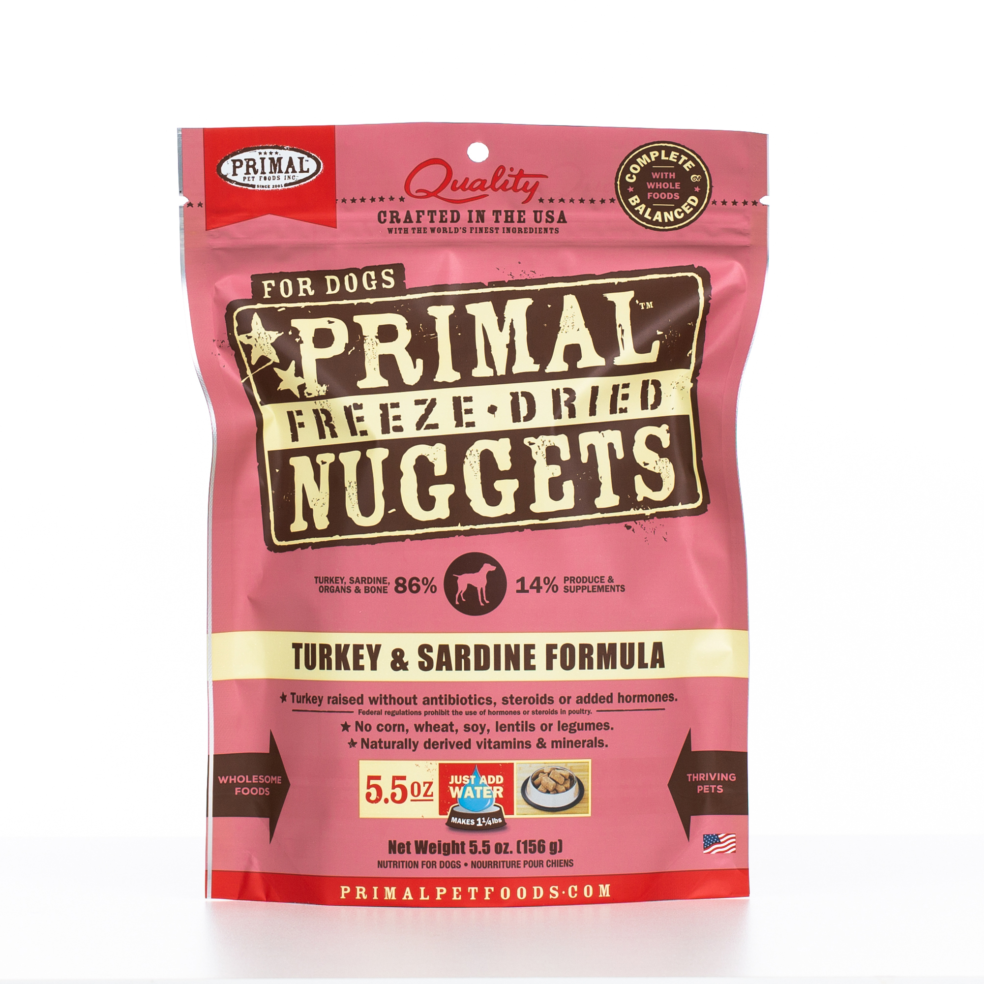 Primal Raw Freeze-Dried Nuggets Turkey & Sardine Formula Dog Food, 5.5-oz bag, case of 8