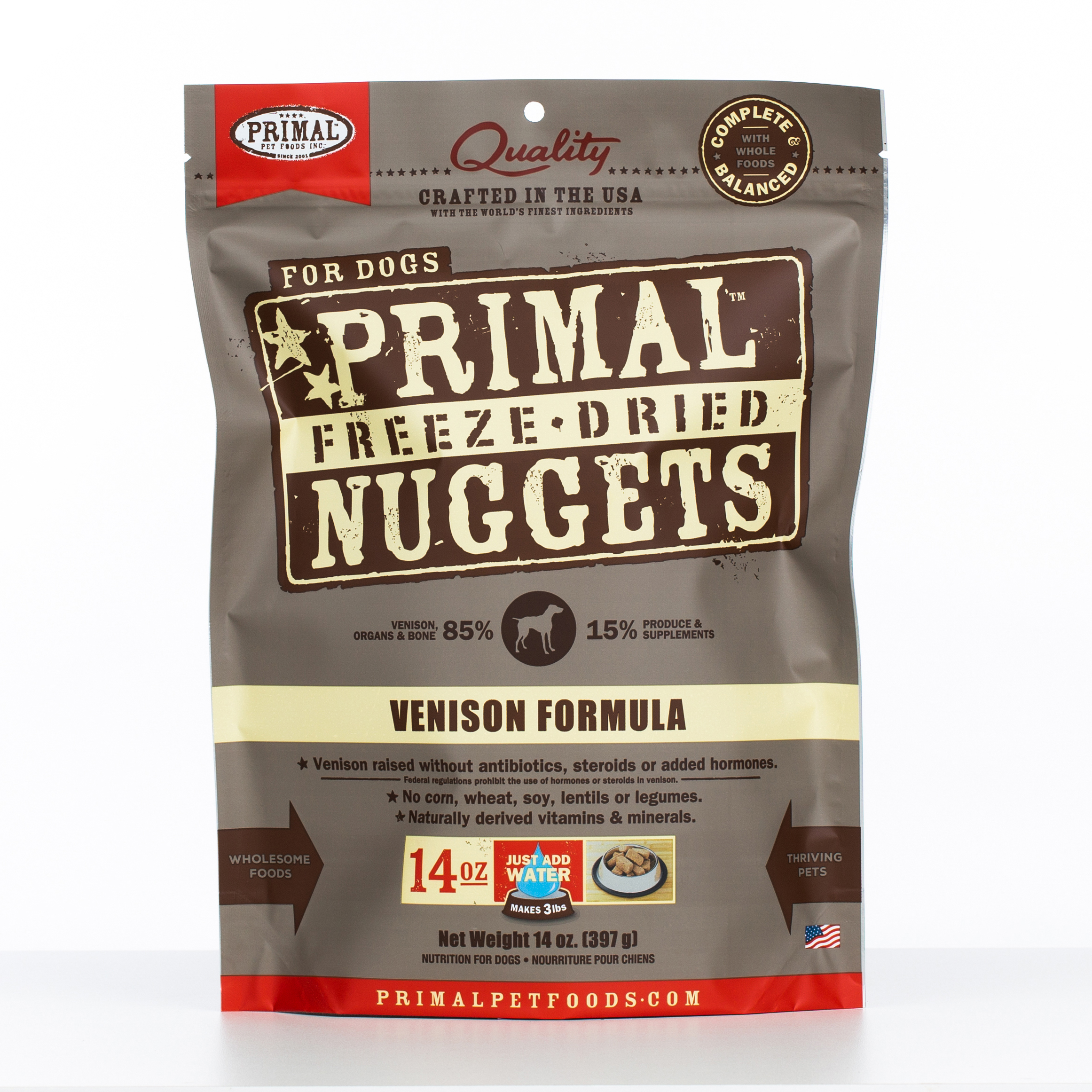 Primal Raw Freeze-Dried Nuggets Venison Formula Dog Food, 14-oz