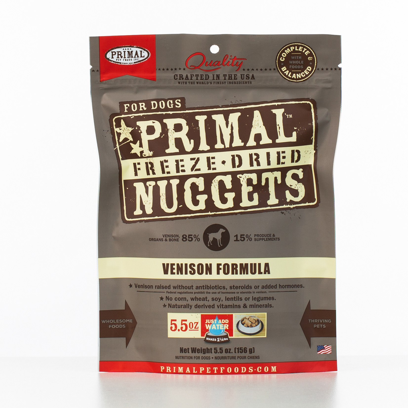 Primal Raw Freeze-Dried Nuggets Venison Formula Dog Food, 5.5-oz
