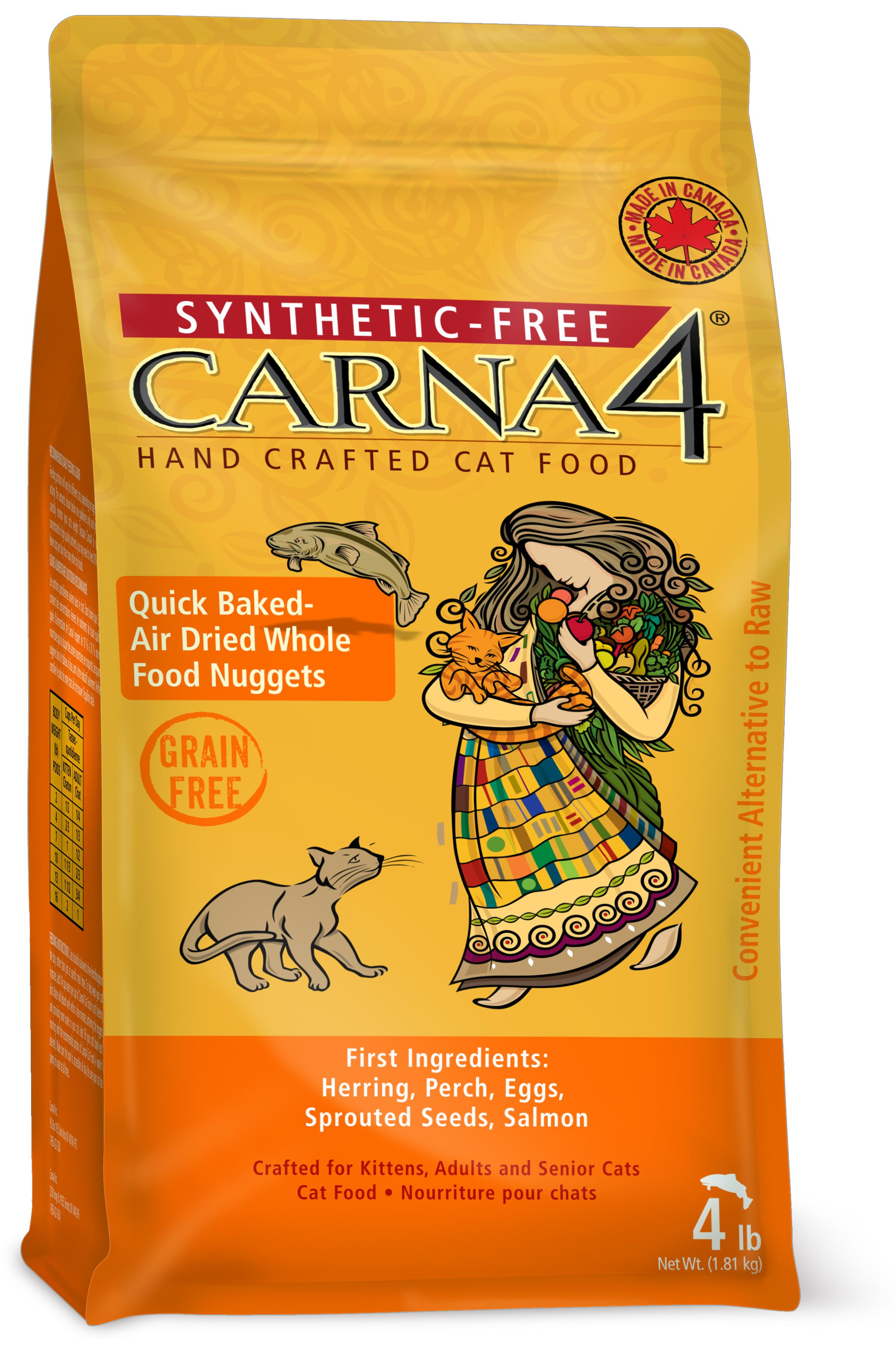 Carna4 Airdried Grain-Free Quick Baked Fish Cat Food, 4-lb