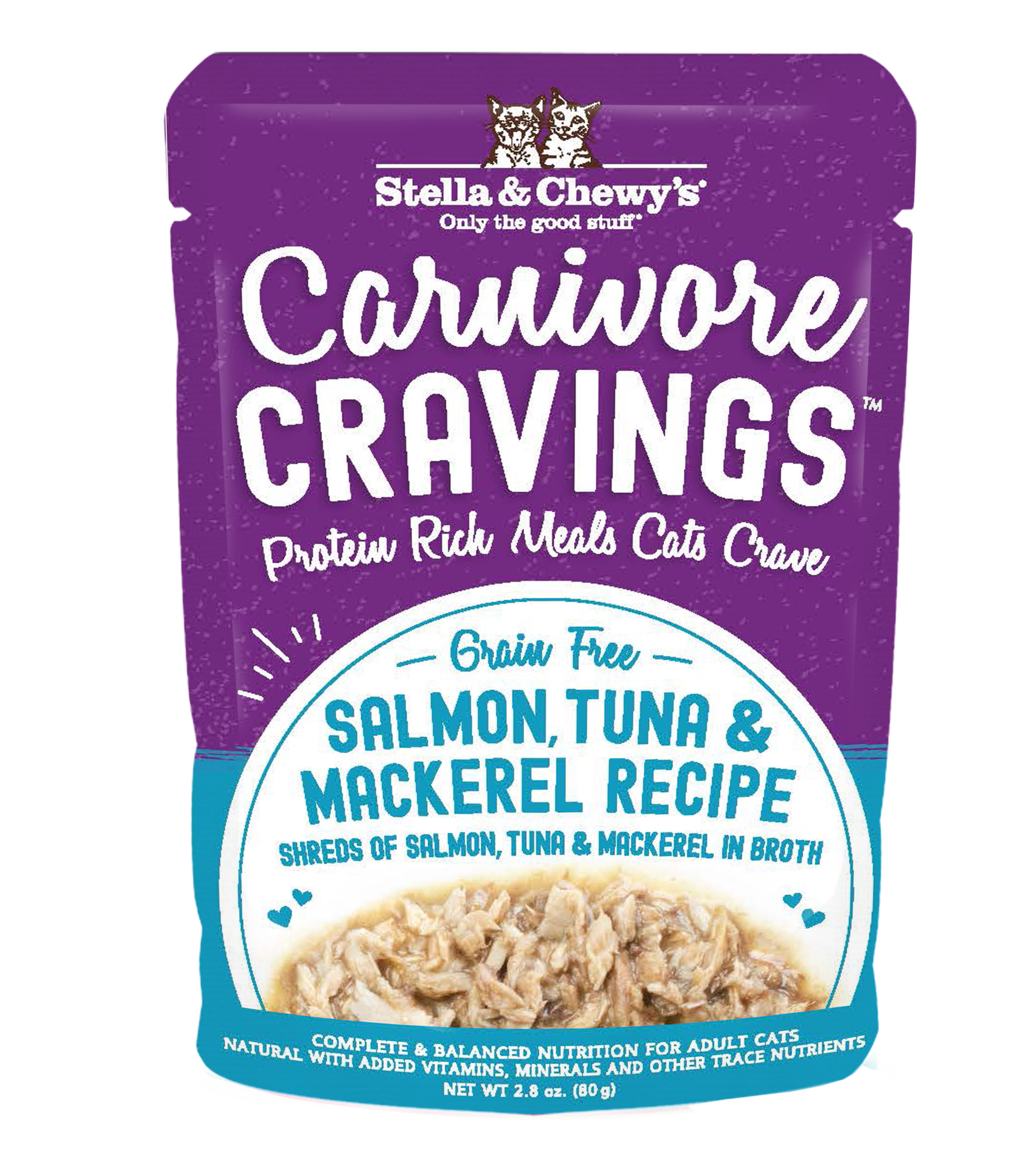 Stella & Chewy's Carnivore Cravings Salmon, Tuna & Mackerel Wet Cat Food, 2.8-oz pouch