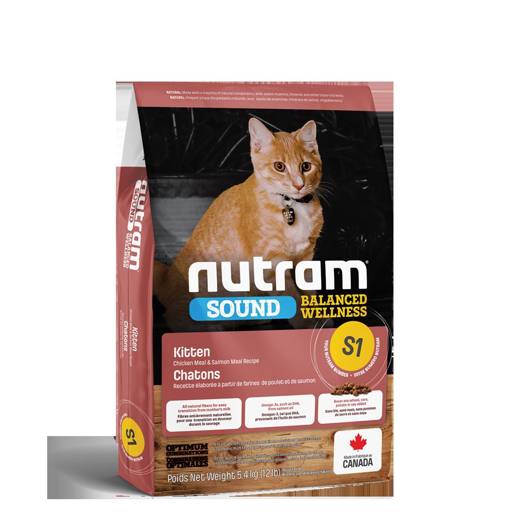 Nutram Sound S1 Balanced Wellness Kitten Food, 5.4-kg