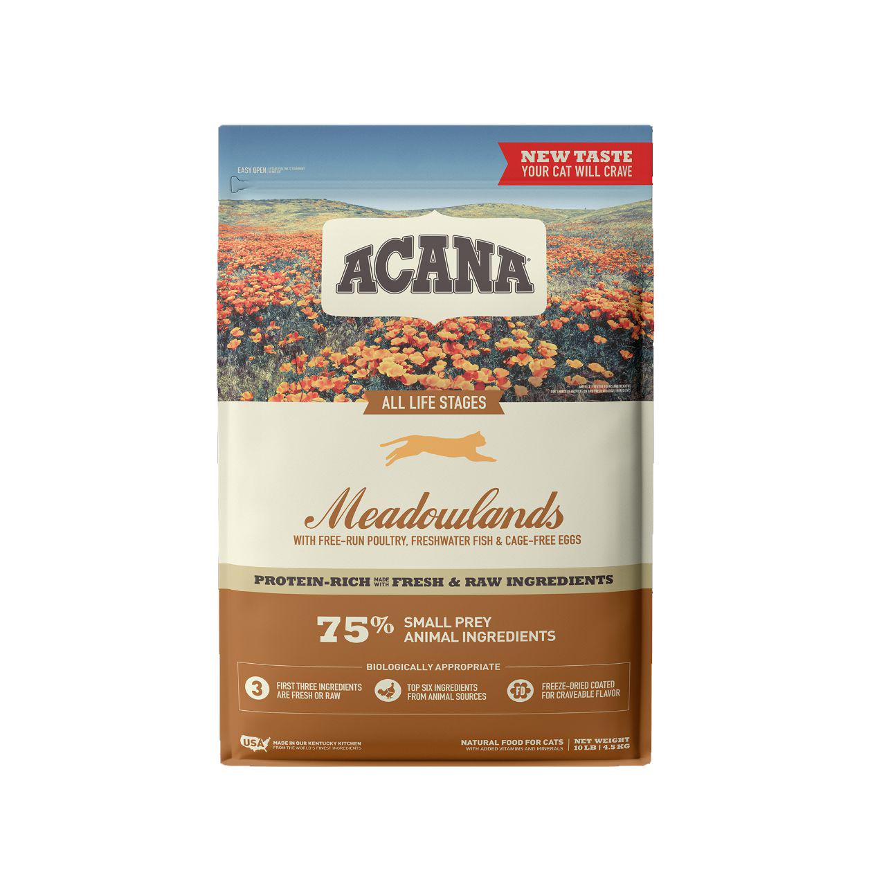 ACANA Meadowlands Dry Cat Food, 10-lb bag