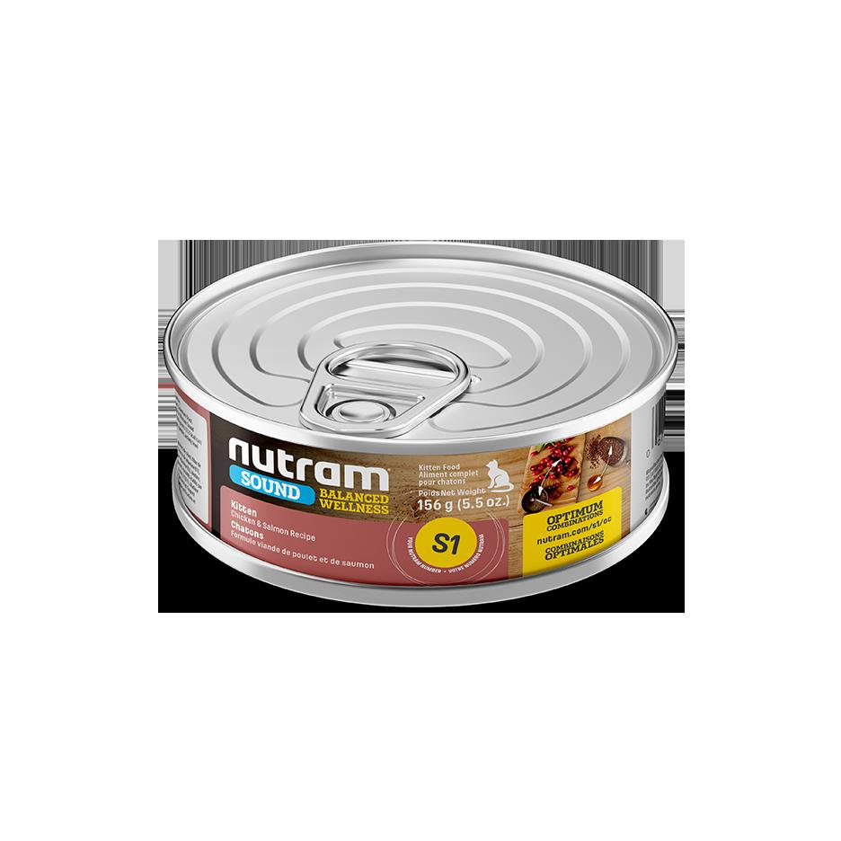 Nutram Sound S1 Well Balanced Chicken & Salmon Kitten Wet Cat Food, 156-gram, case of 24