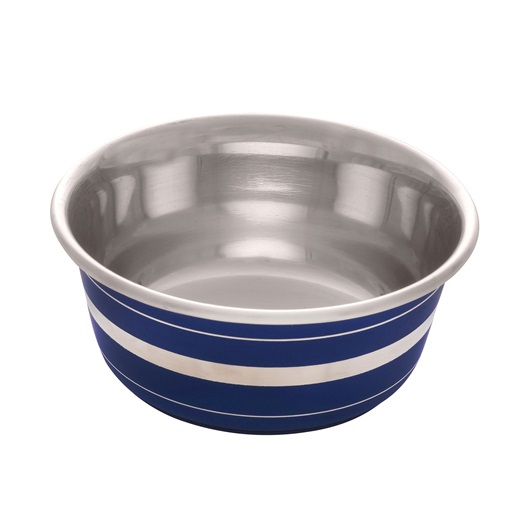 Dogit Stainless Steel Non-Skid Dog Bowl, Blue Striped Image