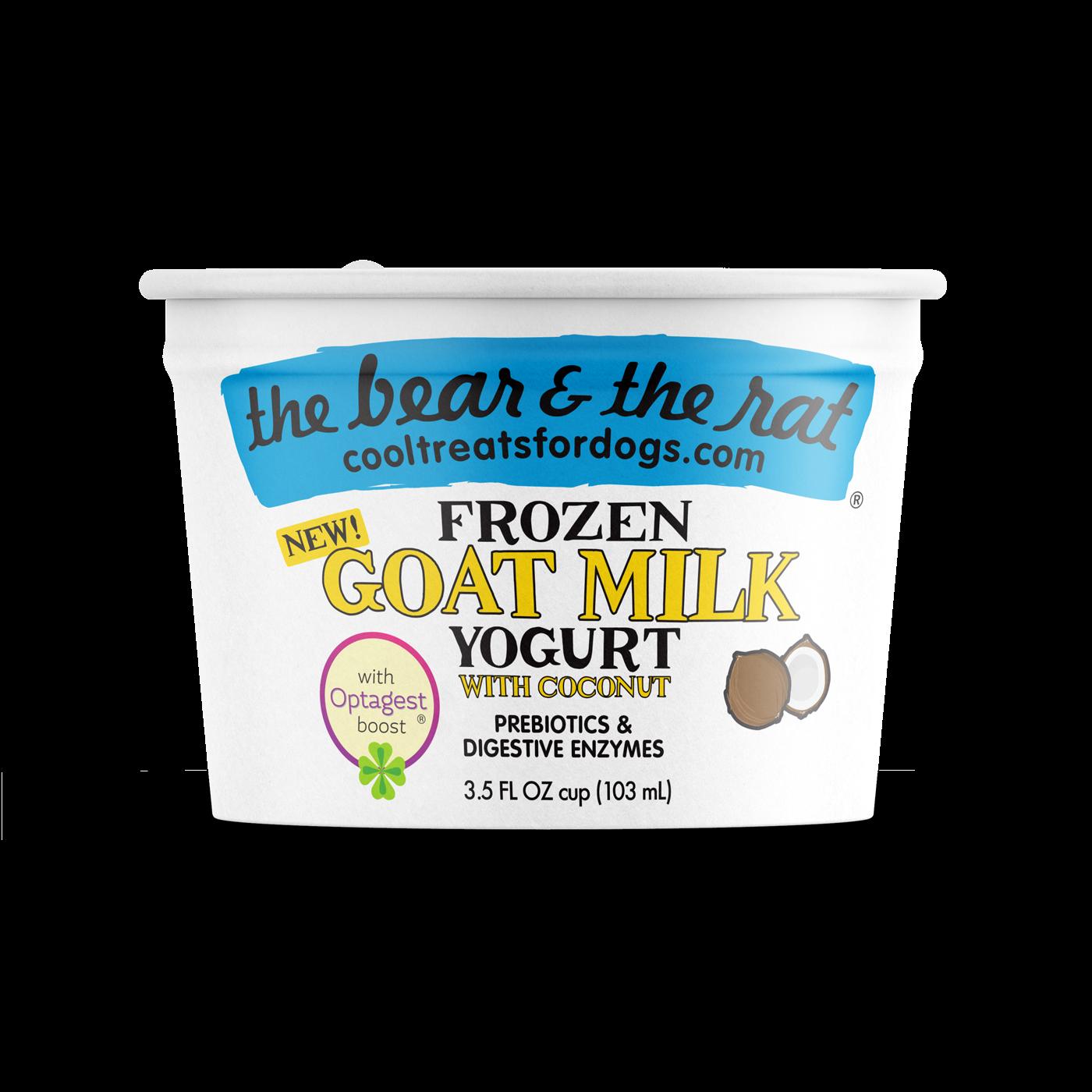 The Bear & The Rat Coconut Frozen Goat Milk Yogurt Dog Treats, 3.5-oz, Single Cup