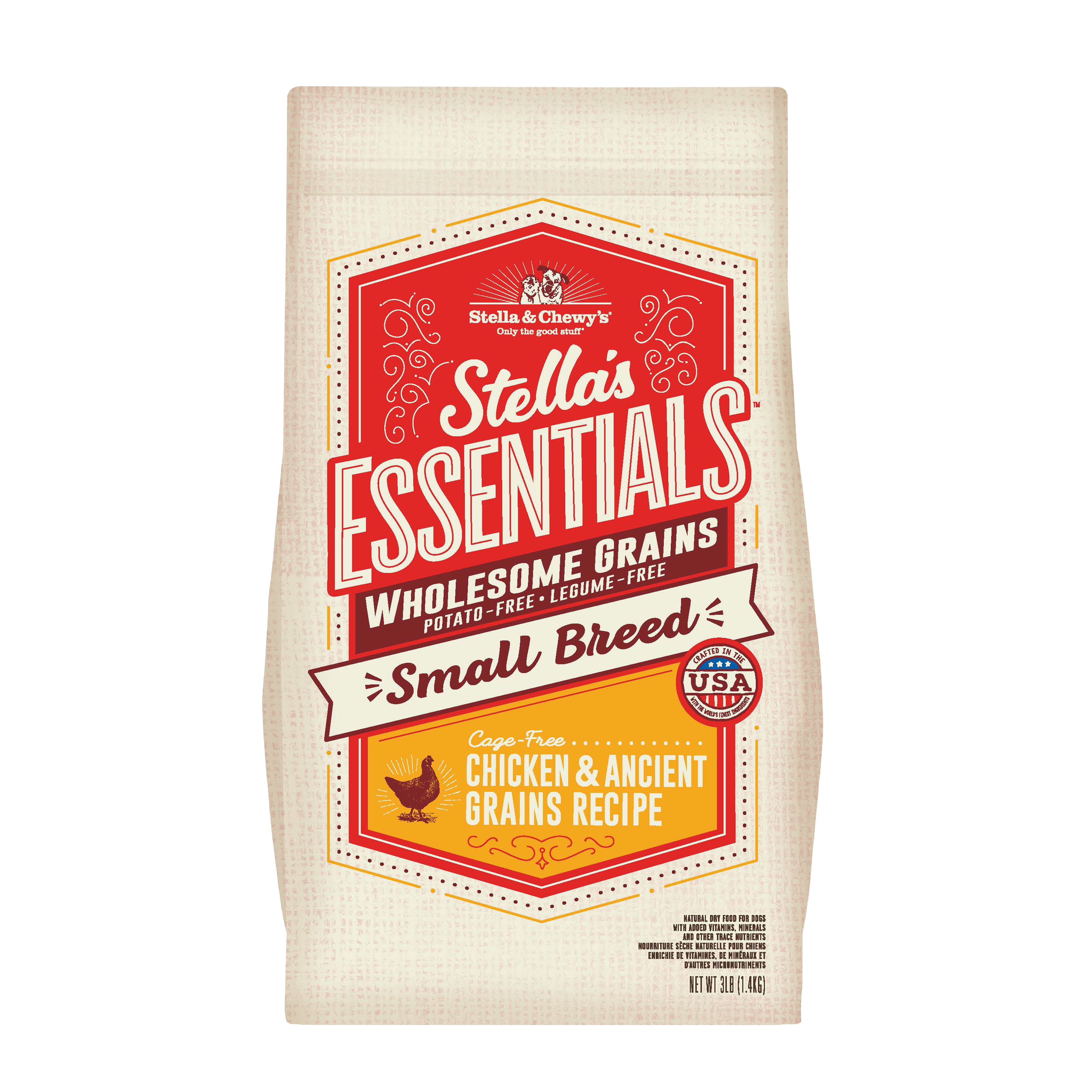 Stella & Chewy's Essentials Wholesome Grains Small Breed Chicken & Ancient Grains Dry Dog Food, 3-lb
