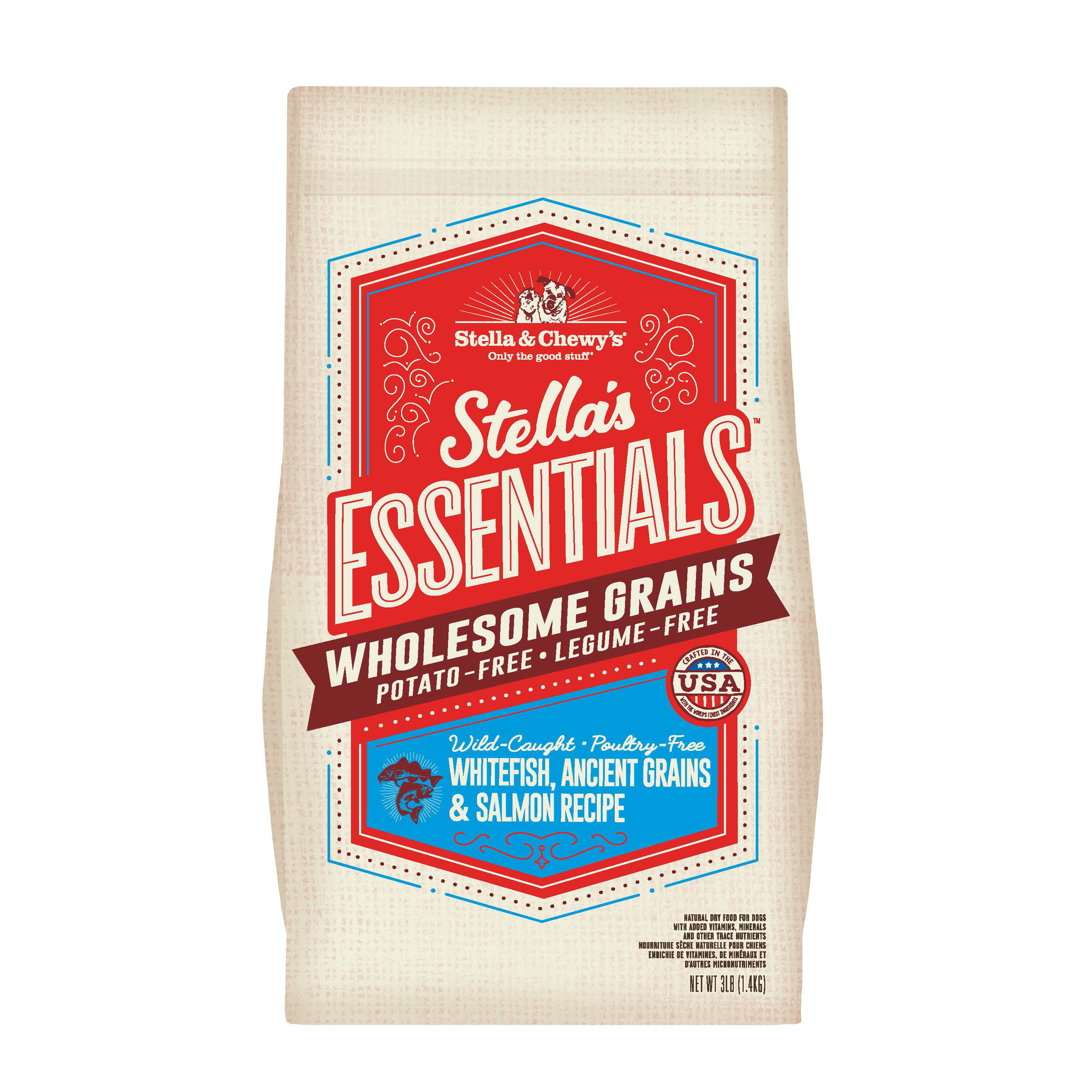 Stella & Chewy's Essentials Wholesome Grains Whitefish, Salmon & Ancient Grains Dry Dog Food, 3-lb